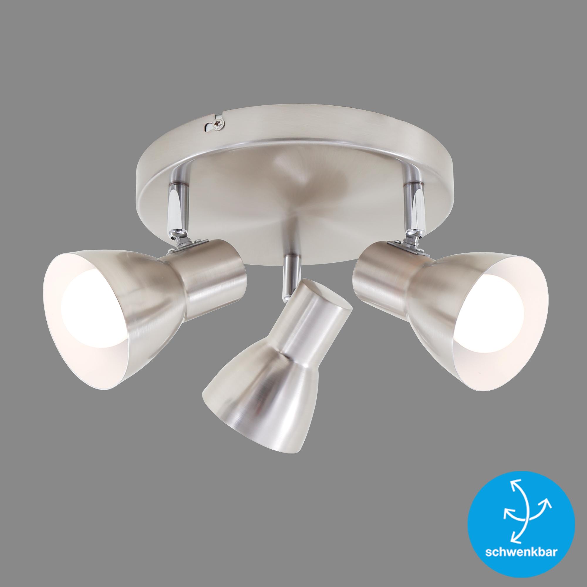 LED Spot Deckenleuchte, Ø 21 cm, max. 25 W, Matt-Nickel