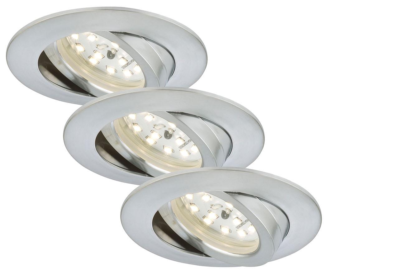 3er Set LED Einbauleuchte Alu