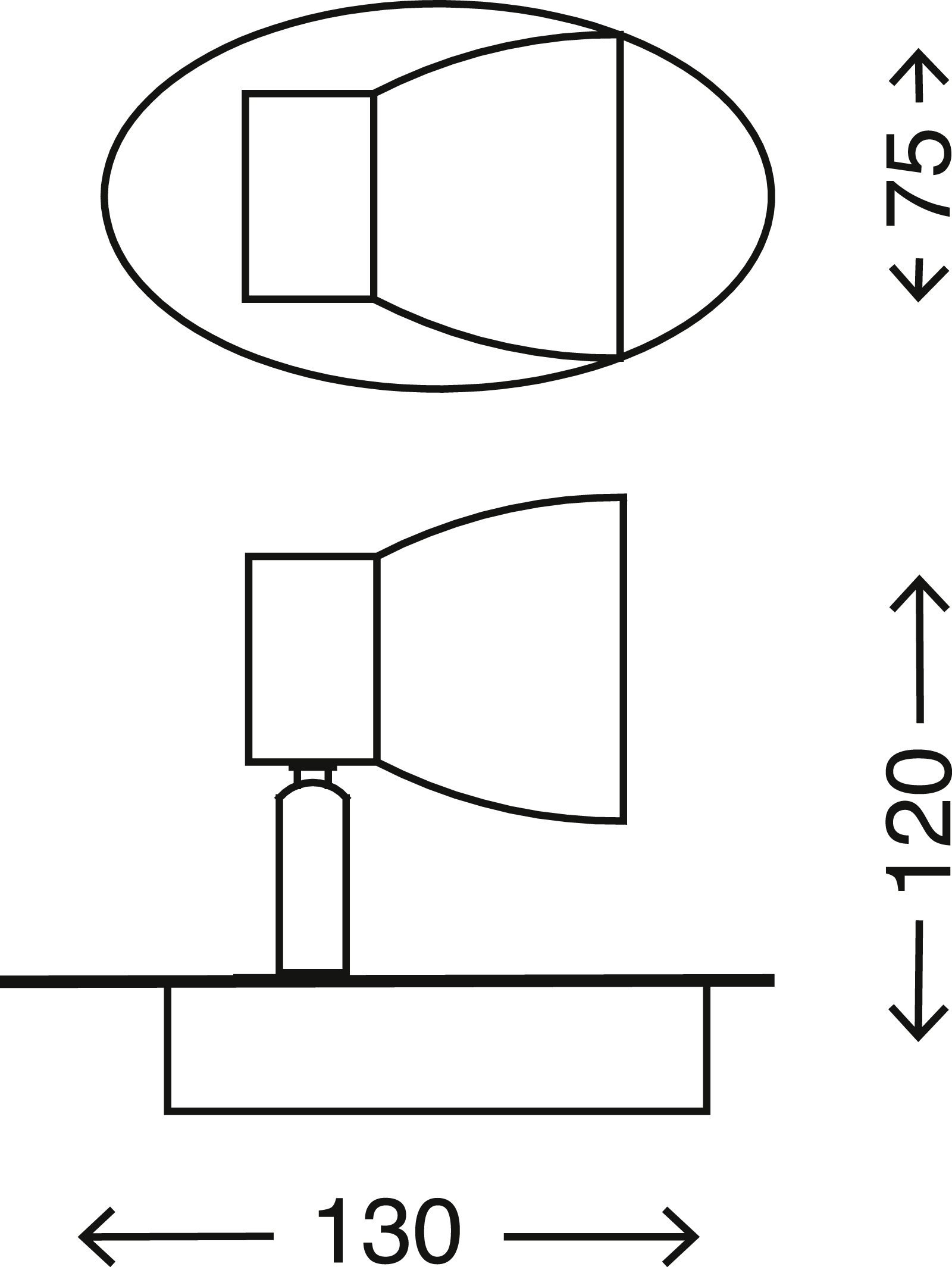LED Spot Wandleuchte, 13 cm, 3 W, Matt-Nickel