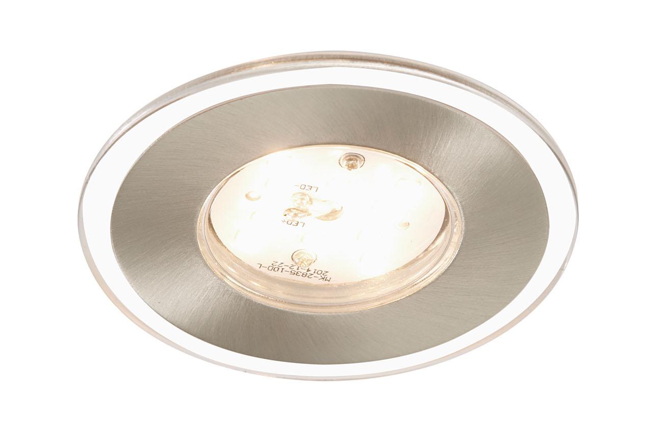 3er Set LED Einbauleuchte, Ø 8 cm, 5 W, Matt-Nickel