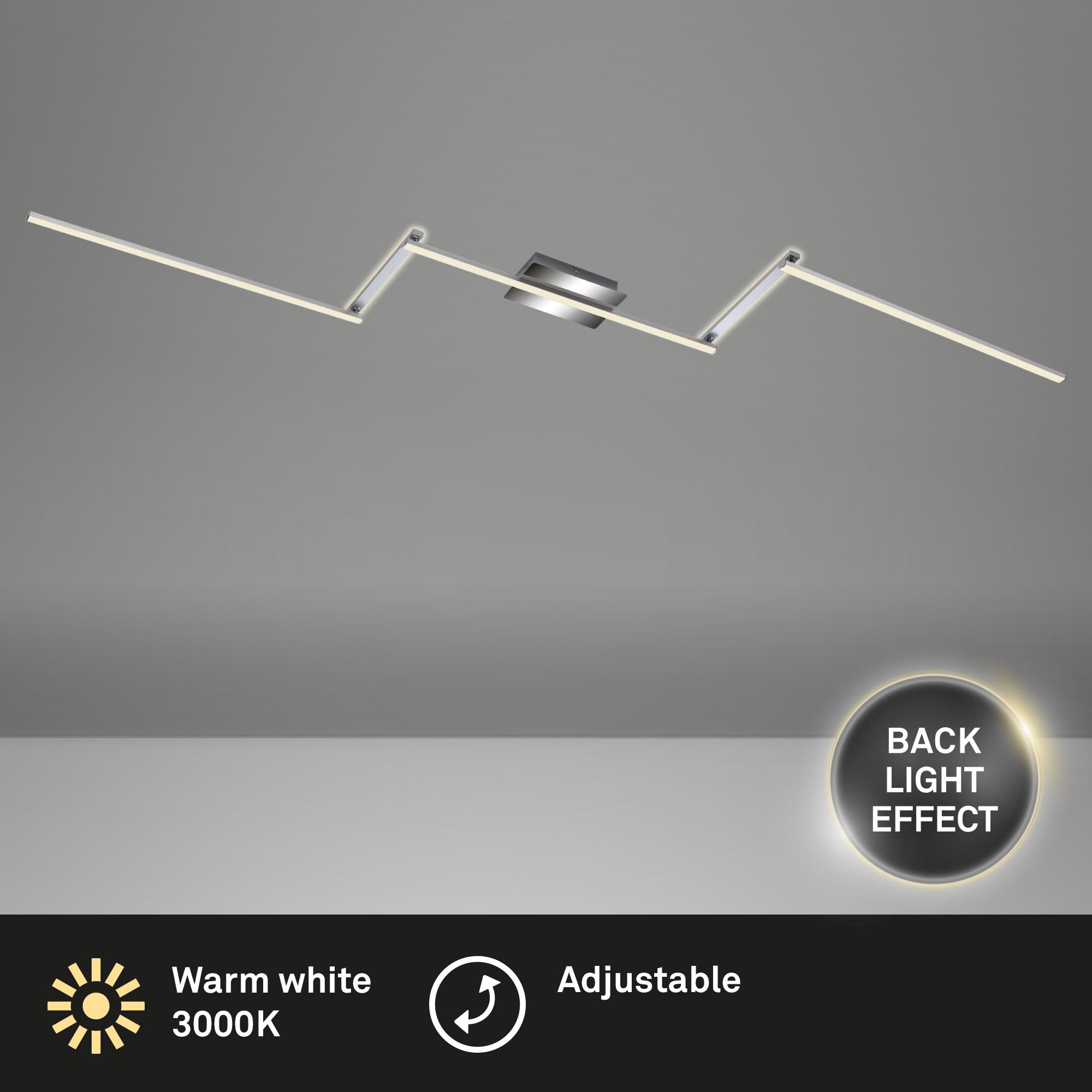 LED Deckenleuchte, 227,2 cm, 24 W, Alu-Chrom