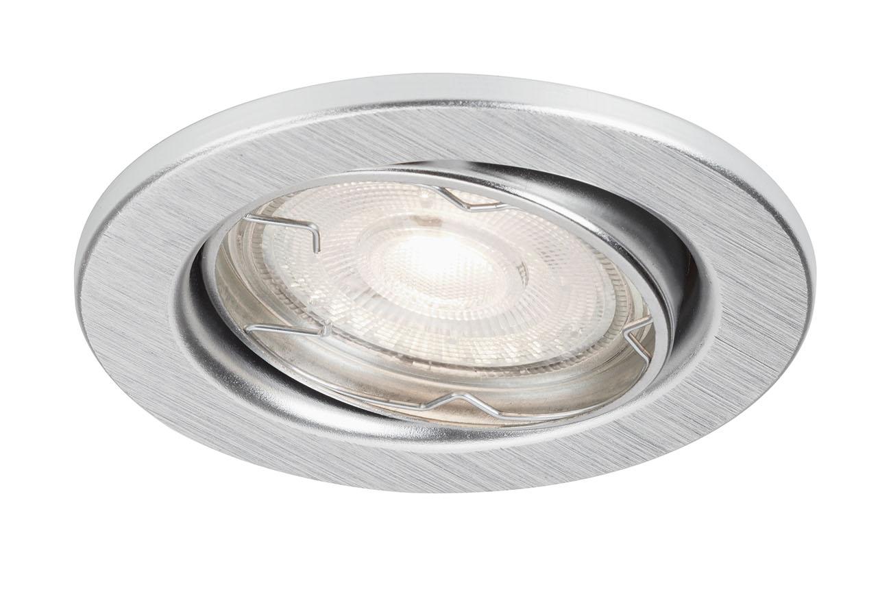 3er Set LED Einbauleuchte, Ø 8,6 cm, 4 W, Alu