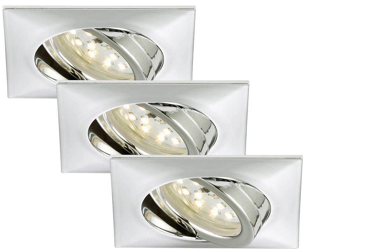 3er Set LED Einbauleuchte, 8,2 cm, 5 W, Chrom