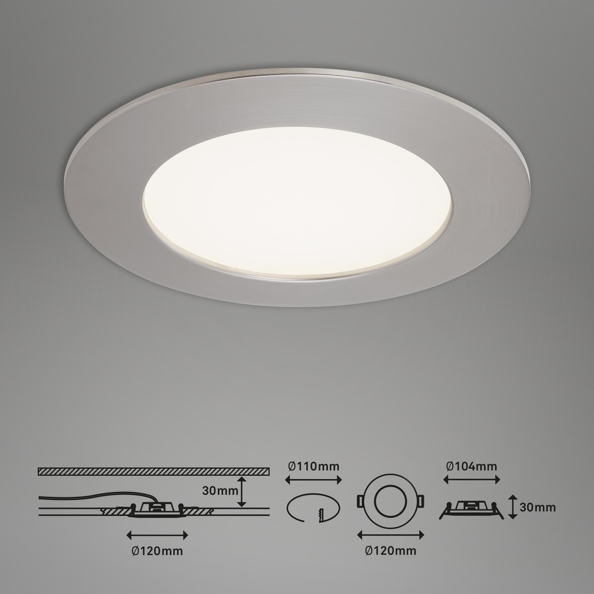 3er Set LED Einbauleuchte, Ø 12 cm, 8 W, Matt-Nickel