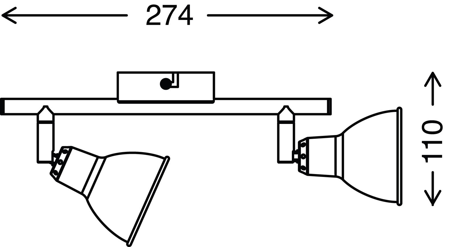 Spot Deckenleuchte, 27,4 cm, 6 W, Kupfer