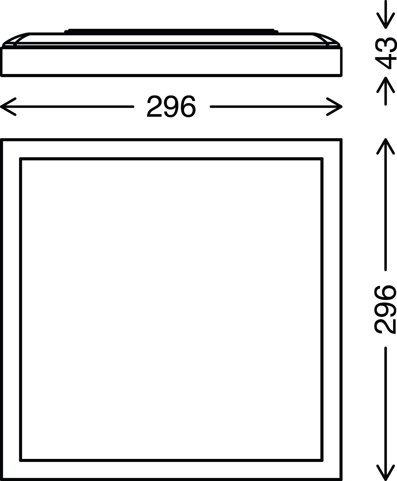 LED Deckenleuchte, 29,6 cm, 18 W, Schwarz