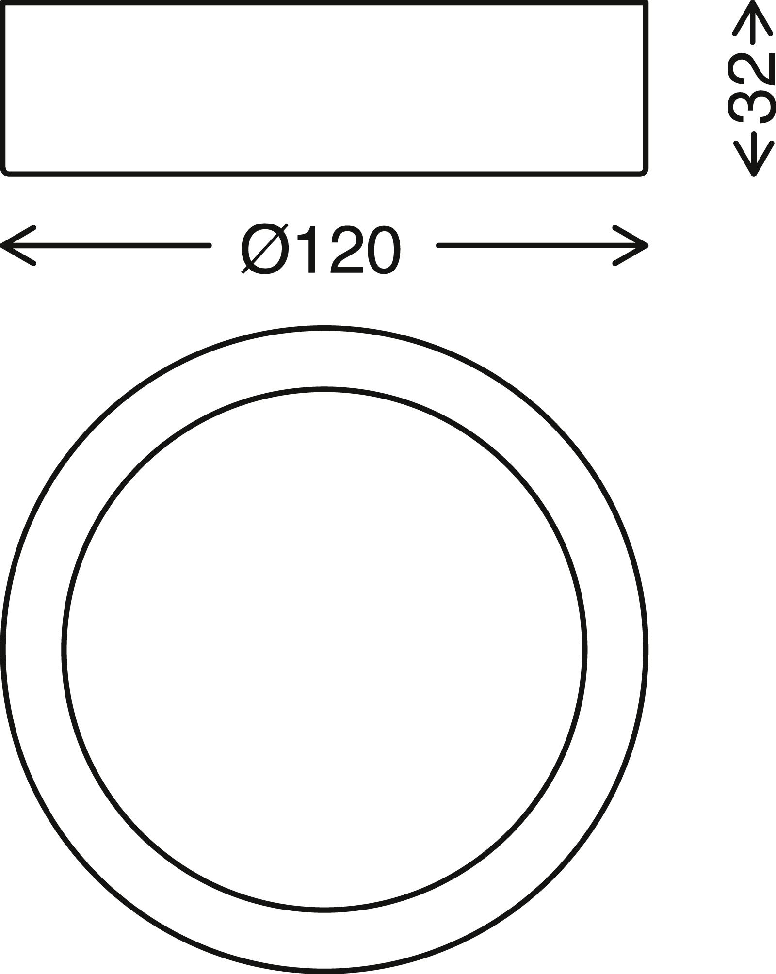 LED Deckenleuchte, Ø 12 cm, 7 W, Schwarz