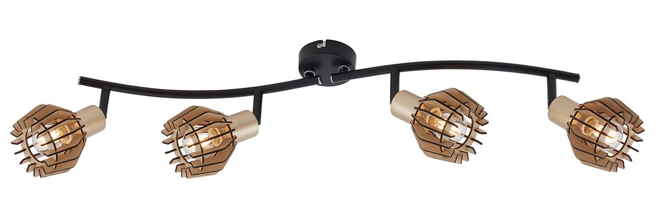 LED Spot Deckenleuchte, 70 cm, max. 5,5 W, Schwarz-Gold-Holz