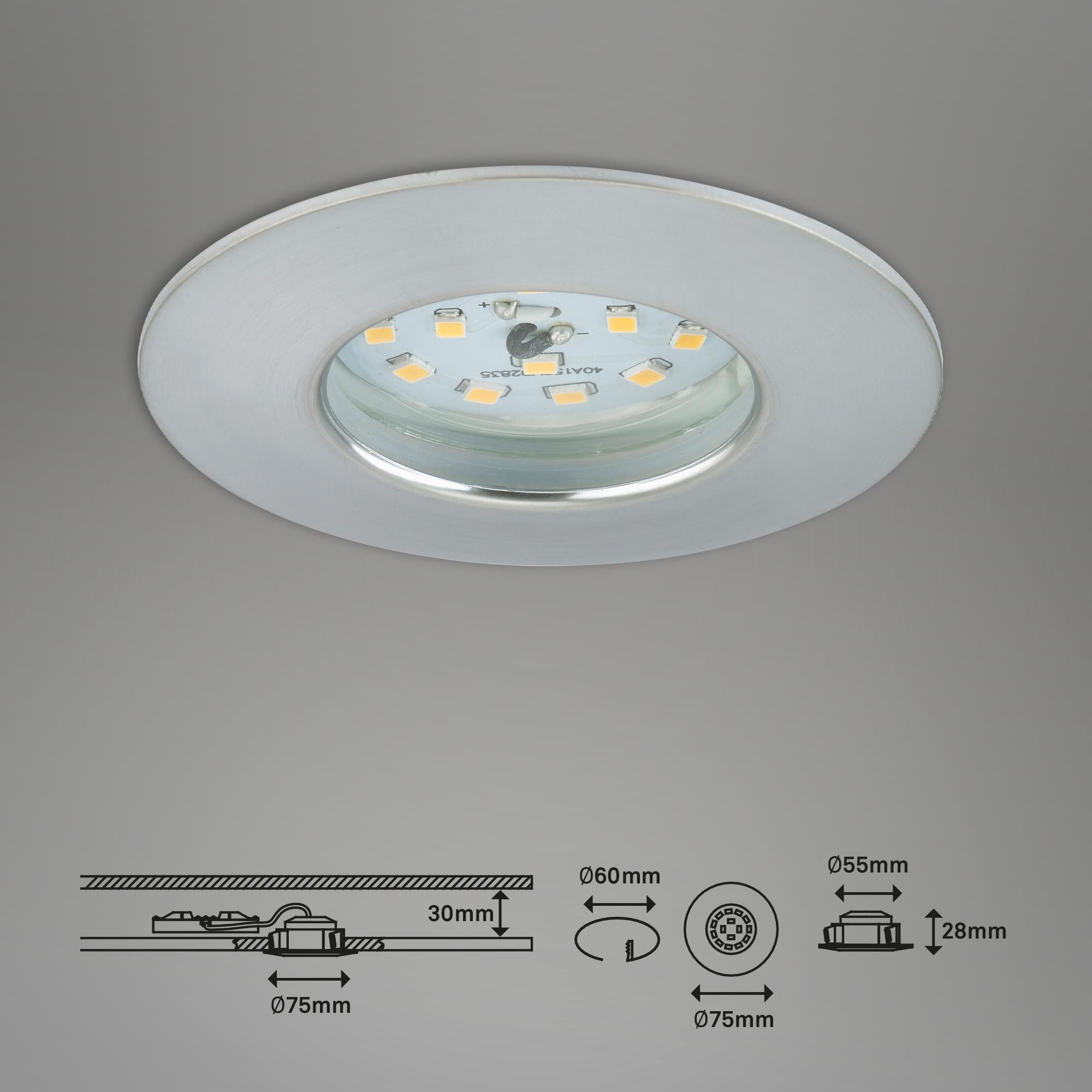 LED Einbauleuchte, Ø 7,5 cm, Alu