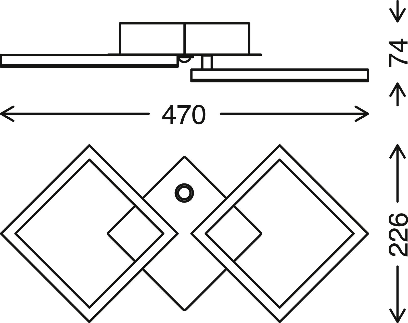 TELEFUNKEN Sensor LED Deckenleuchte, 47 cm, 12 W, Chrom-Alu