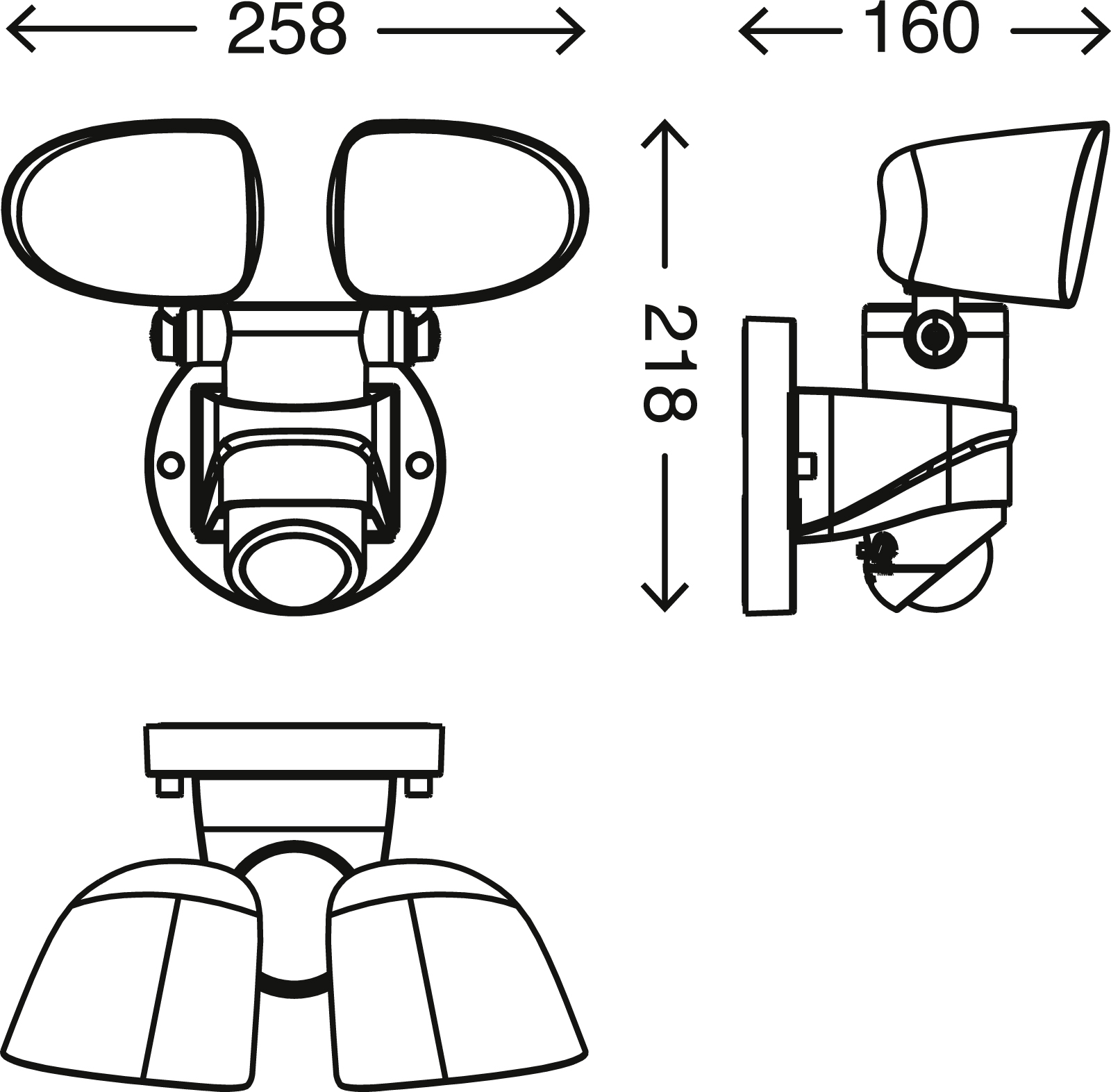 TELEFUNKEN LED Sensor Aussenleuchte, 21,8 cm, 20 W, Schwarz