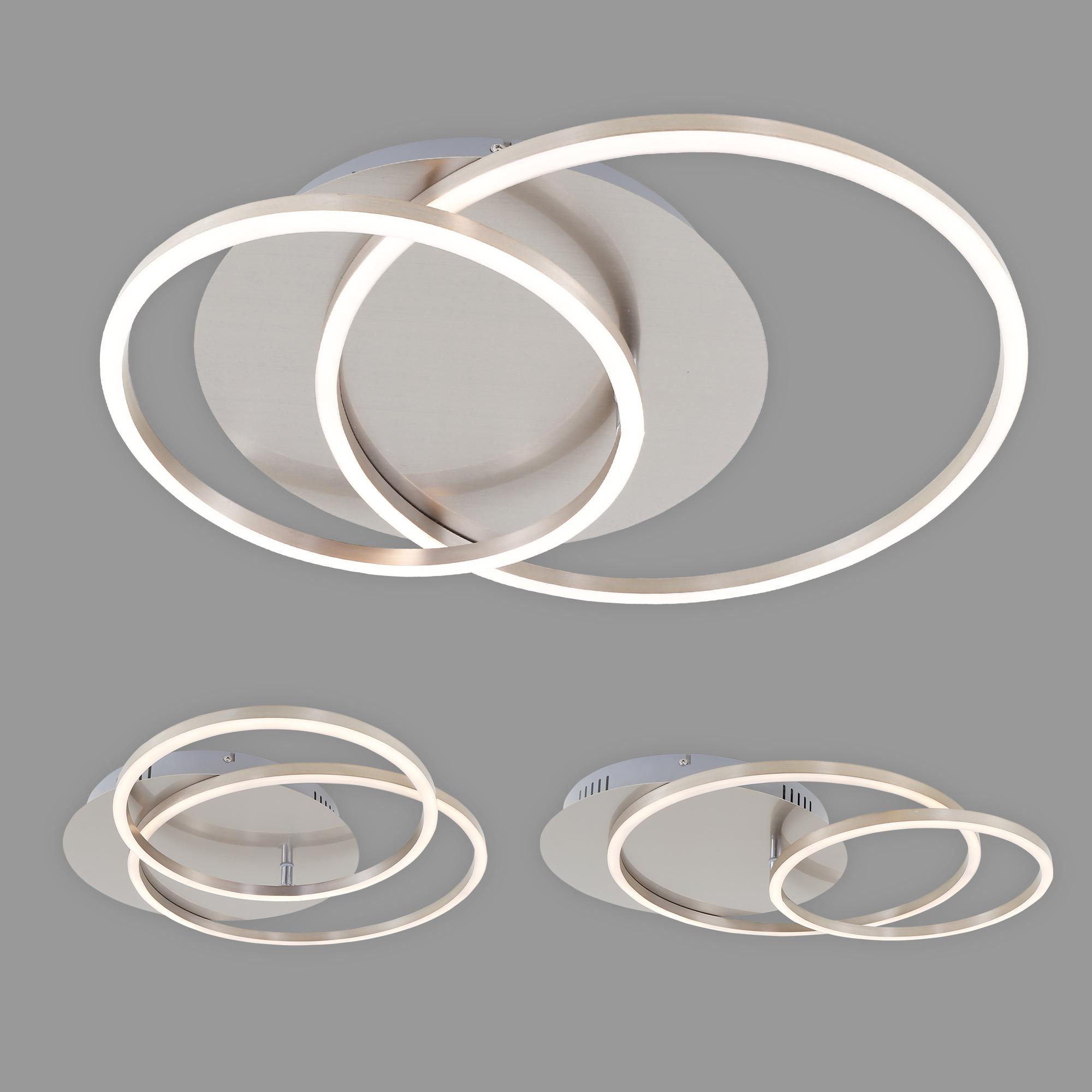 LED Deckenleuchte, 51,5 cm, 3200 LM, 40 W, Matt-Nickel