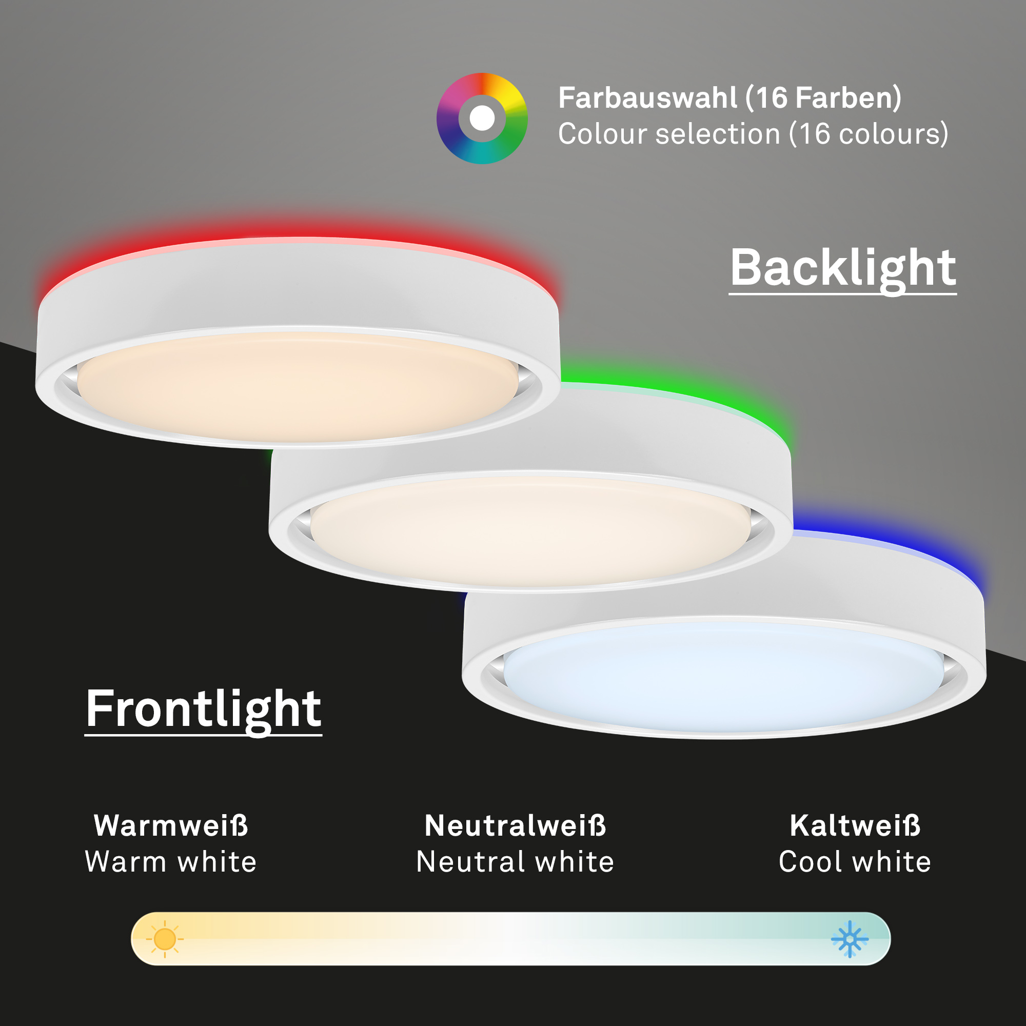 CCT LED Deckenleuchte, Ø 36 cm, 1600 LM, 24 W, Weiss