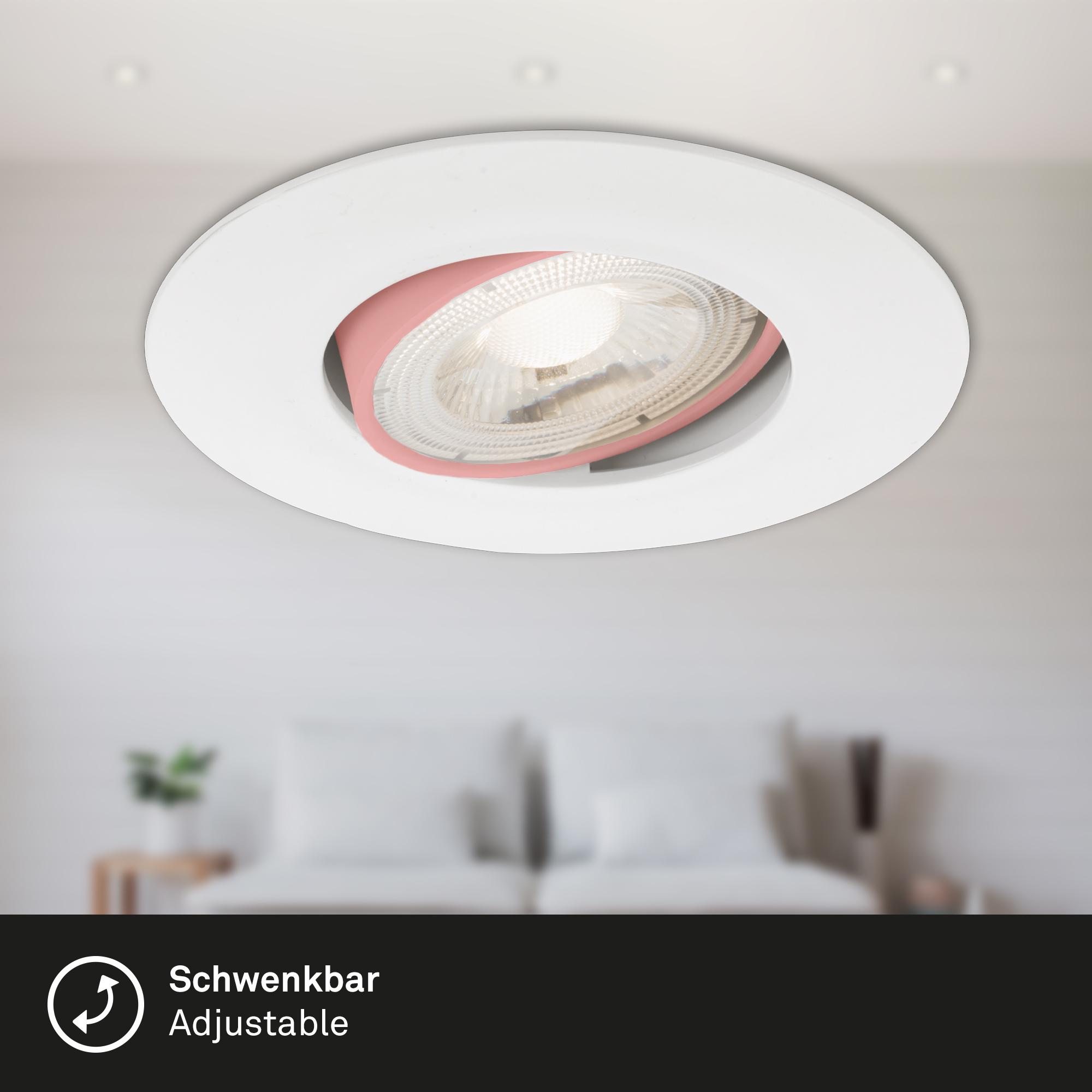 3er Set Ultraflache LED Einbauleuchte, Ø 9 cm, 5 W, Weiss