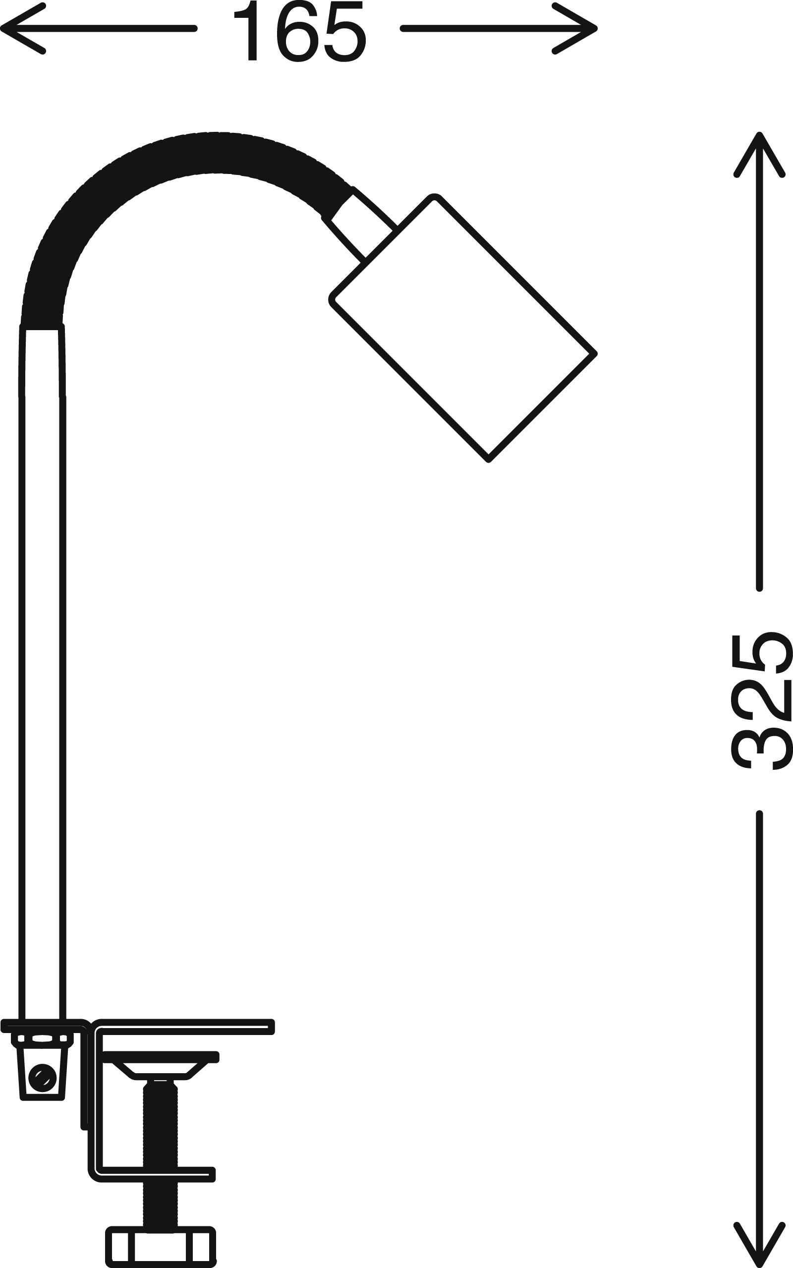 LED Klemmleuchte, 32,5 cm, max. 10 W, Schwarz