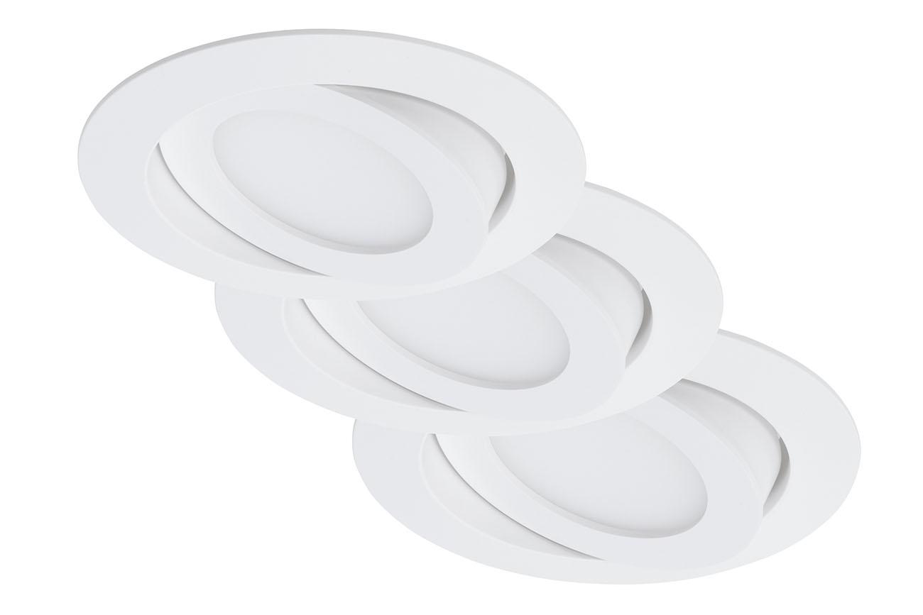 3er Set LED Einbauleuchte, Ø 10,6 cm, 4,8 W, Weiß