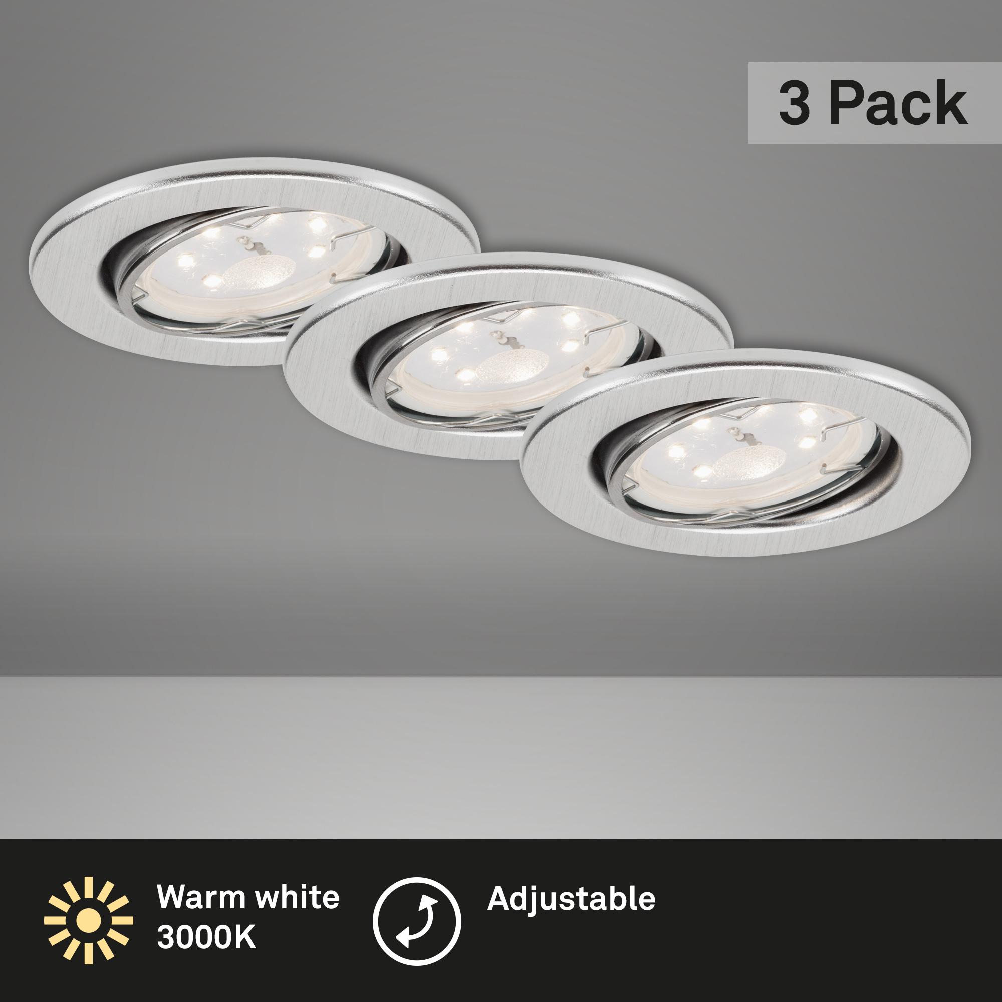 3er Set LED Einbauleuchte, Ø 8,6 cm, 3 W, Alu
