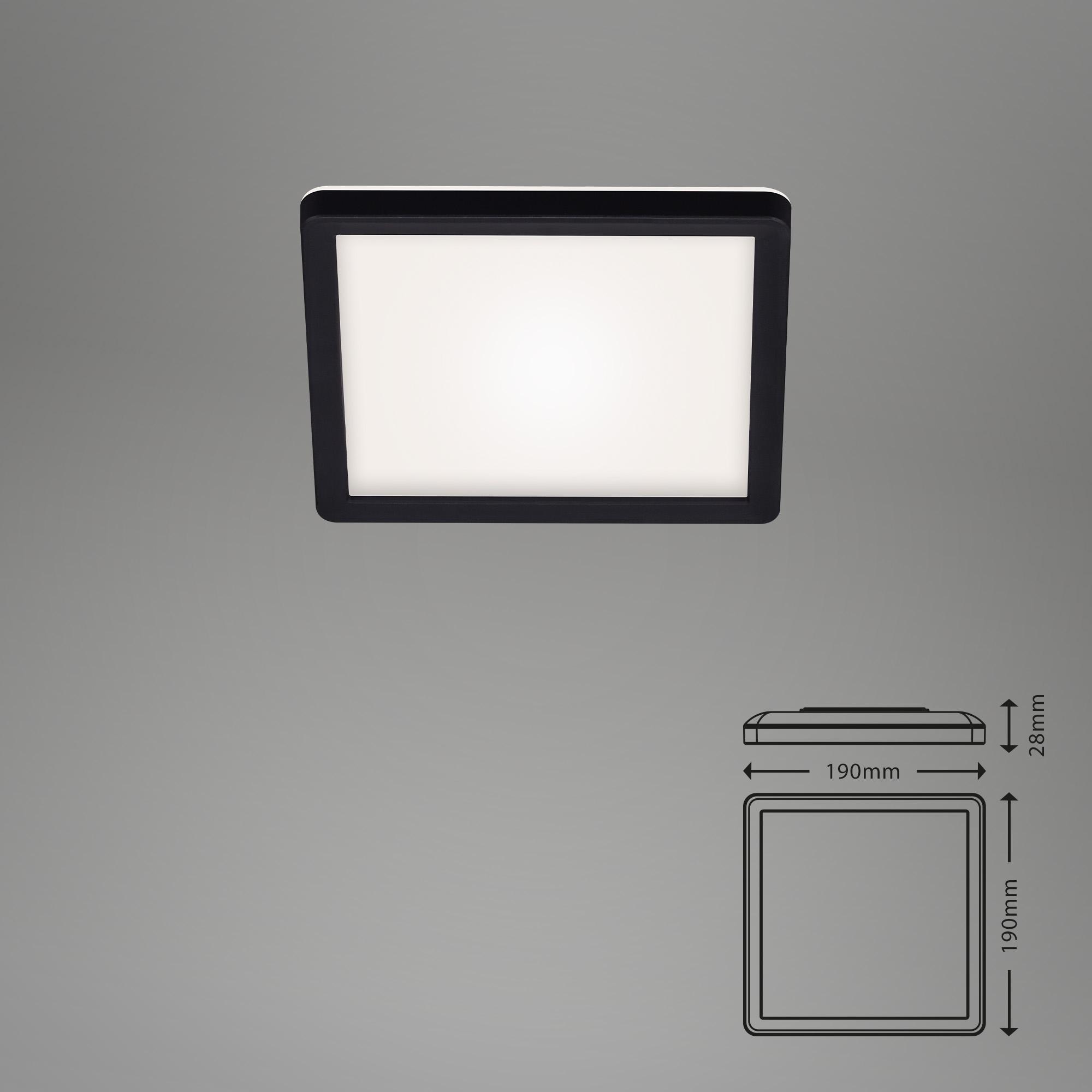 SLIM LED Panel, 19 cm, 12 W, Schwarz