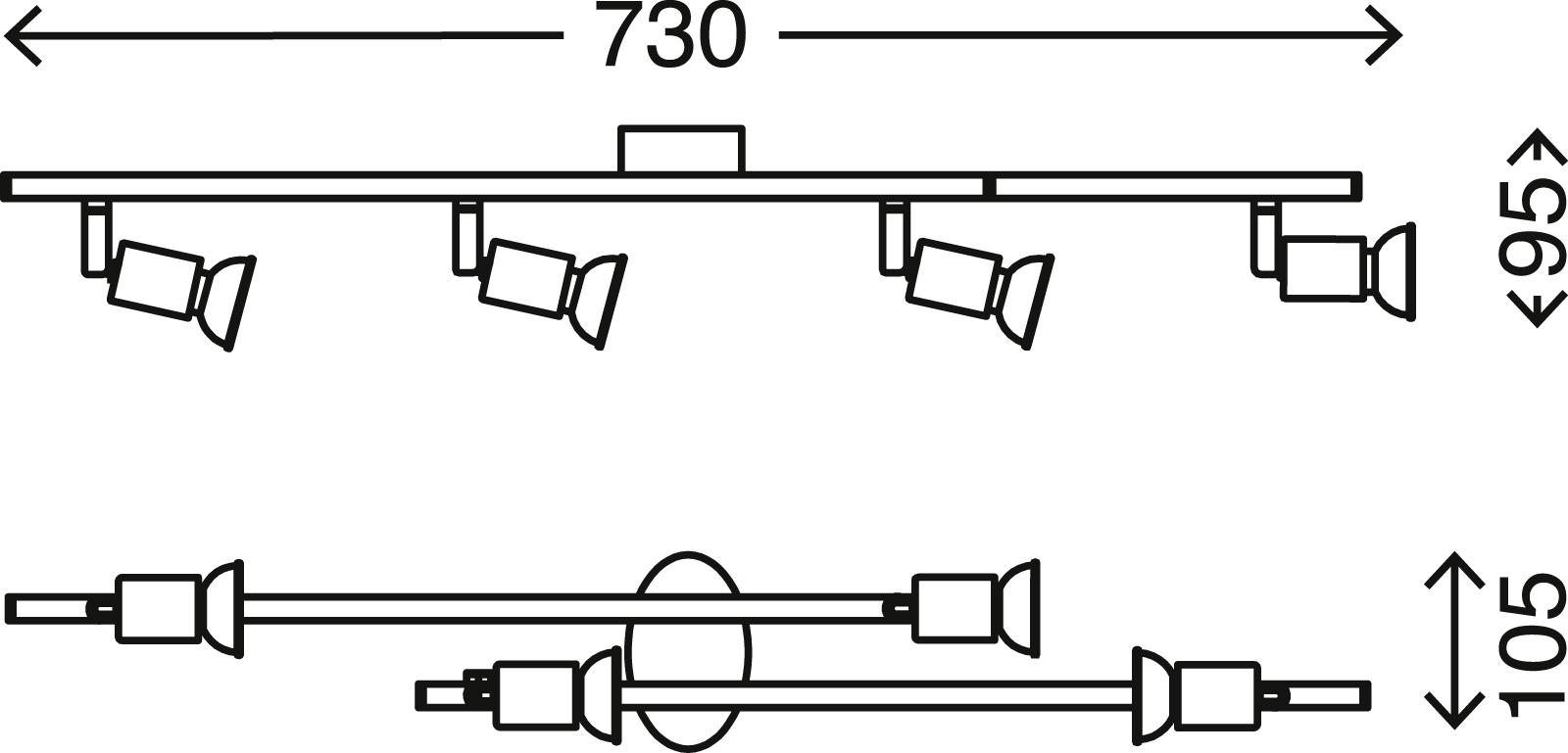 Spot Deckenleuchte, 45,5 cm, 12 W, Matt-Nickel