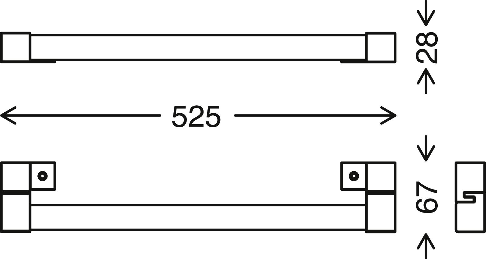 LED Spiegelleuchte, 52,5 cm, 10 W, Schwarz