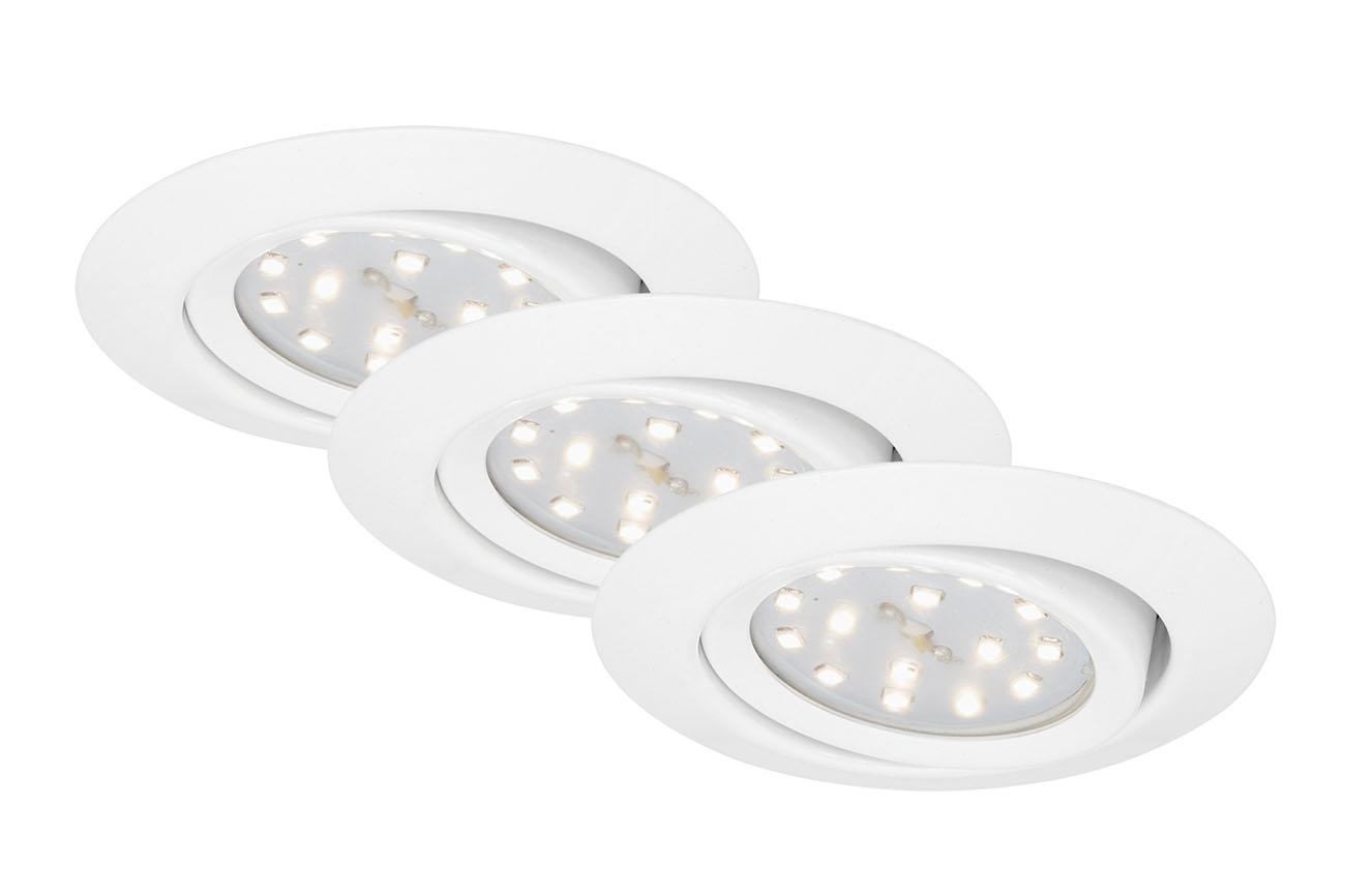 3er Set LED Einbauleuchte, Ø 8,2 cm, 3 W, Weiss