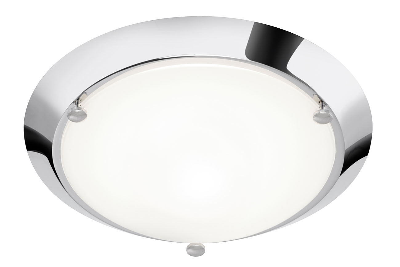 LED Deckenleuchte, Ø 27 cm, max. 60 W, Chrom