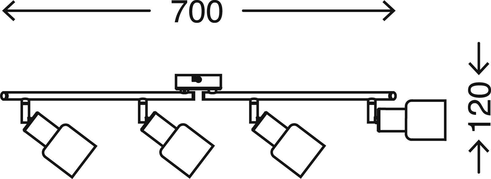 Spot Deckenleuchte, 70 cm, max. 5,5 W, Matt-Nickel-Weiß