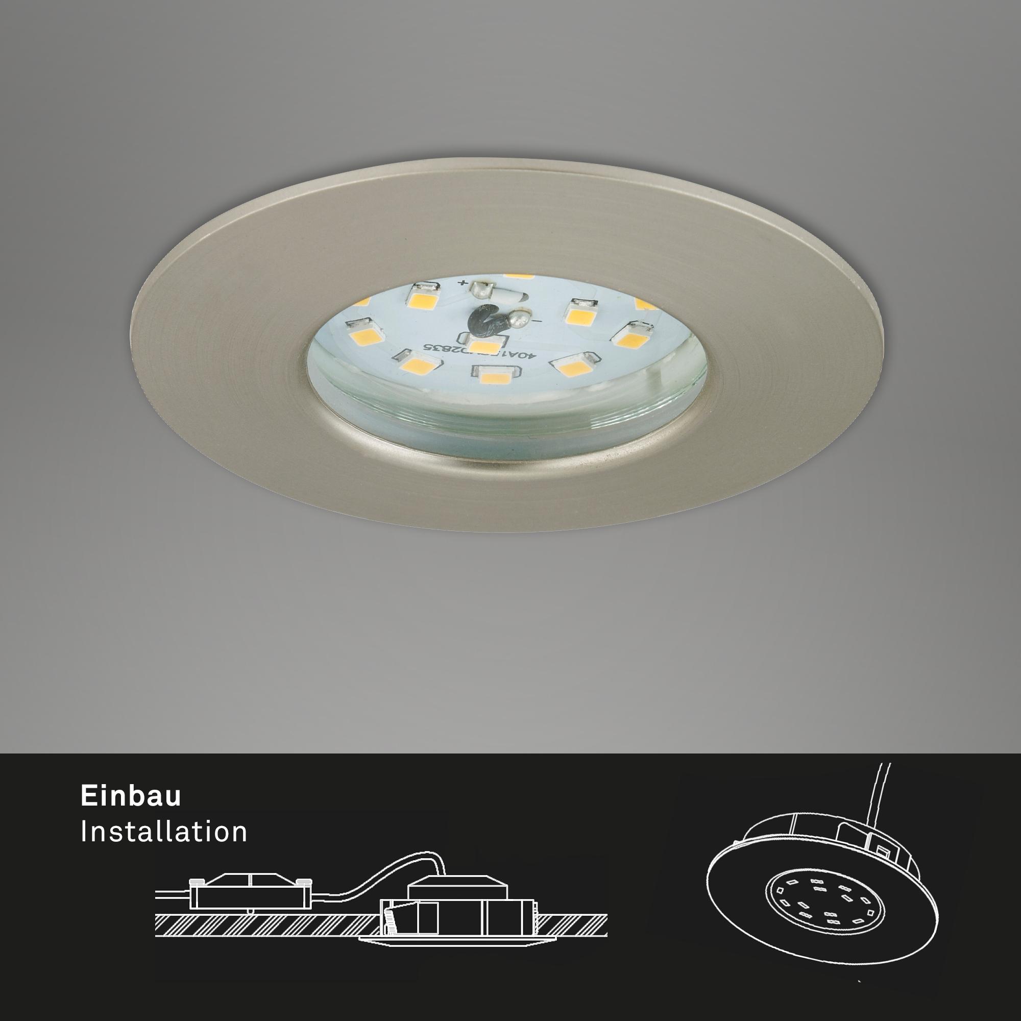 LED Einbauleuchte, Ø 7,5 cm, 6,5 W, Matt-Nickel