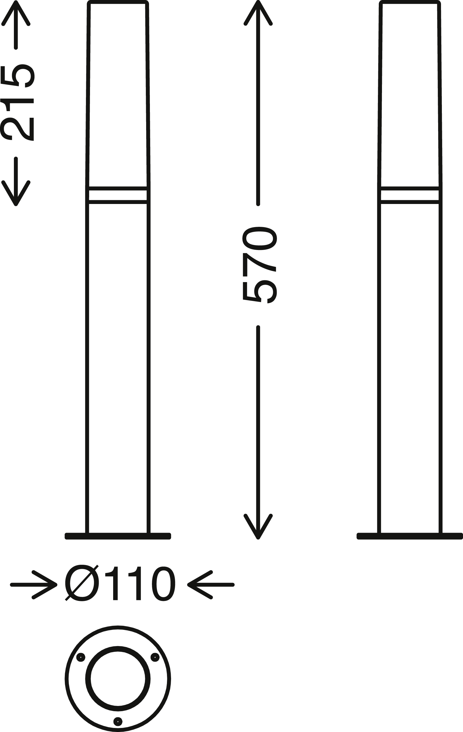 TELEFUNKEN LED Aussenstehleuchte, 57 cm, 8 W, Schwarz