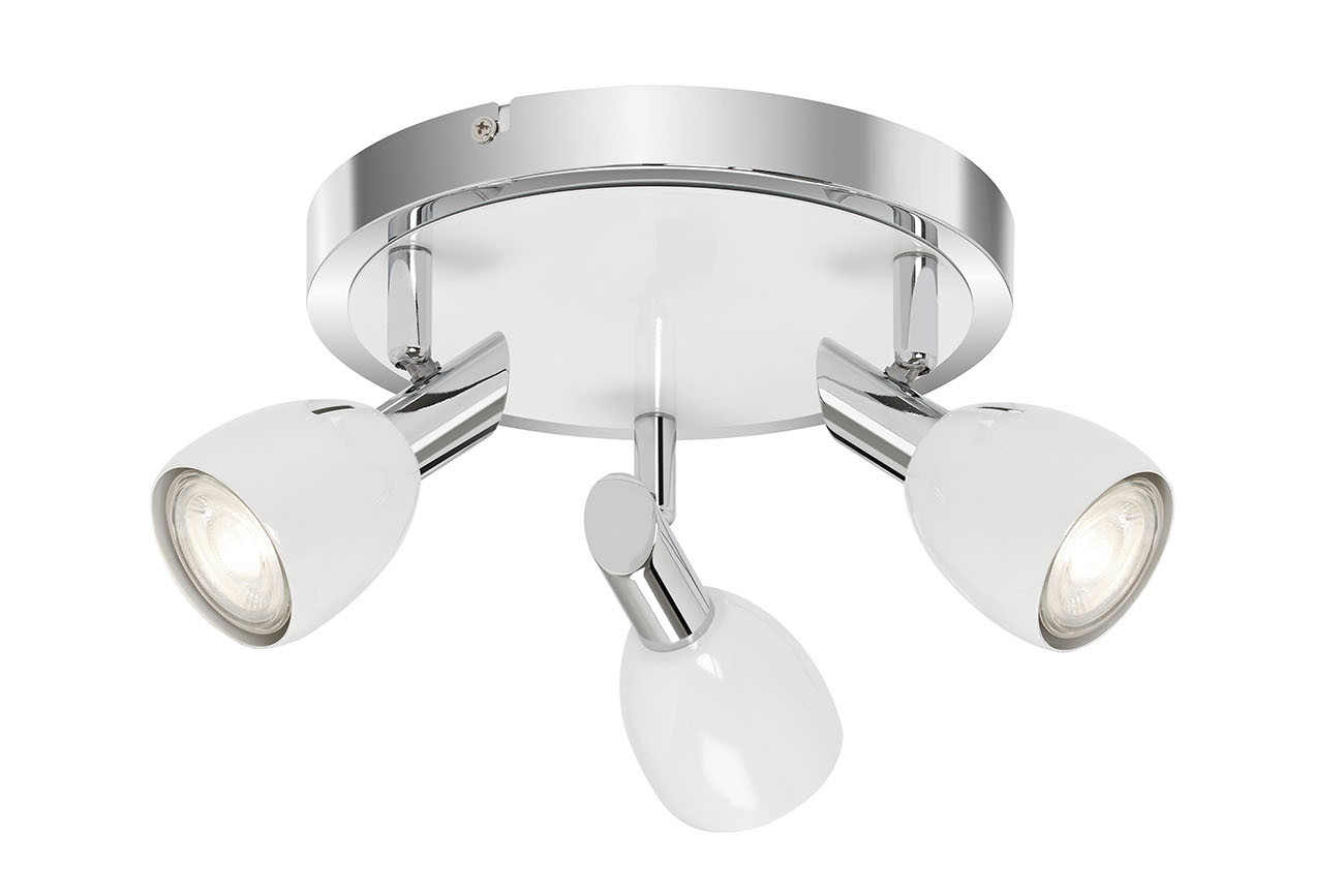 LED Spot Deckenleuchte, Ø 21 cm, 15 W, Chrom-Weiß