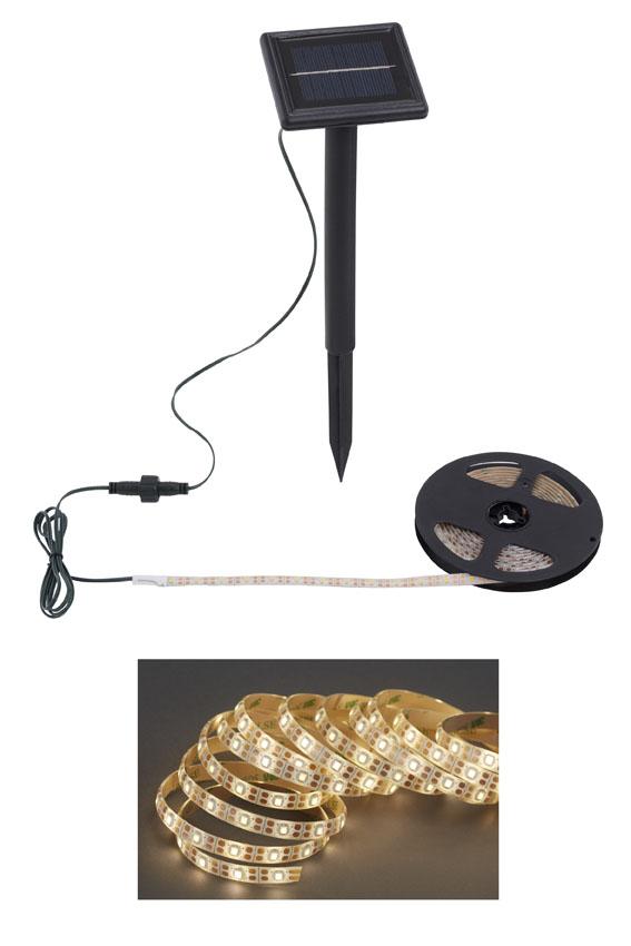 LED Flexband mit Solarpanel, 3 Meter, 36 W, Weiß