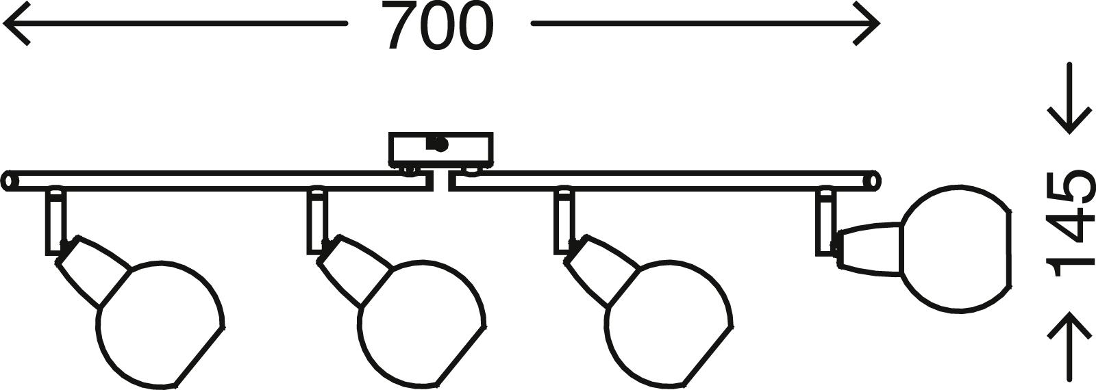 Spot Deckenleuchte, 70 cm, max. 5,5 W, Matt-Nickel-Amber