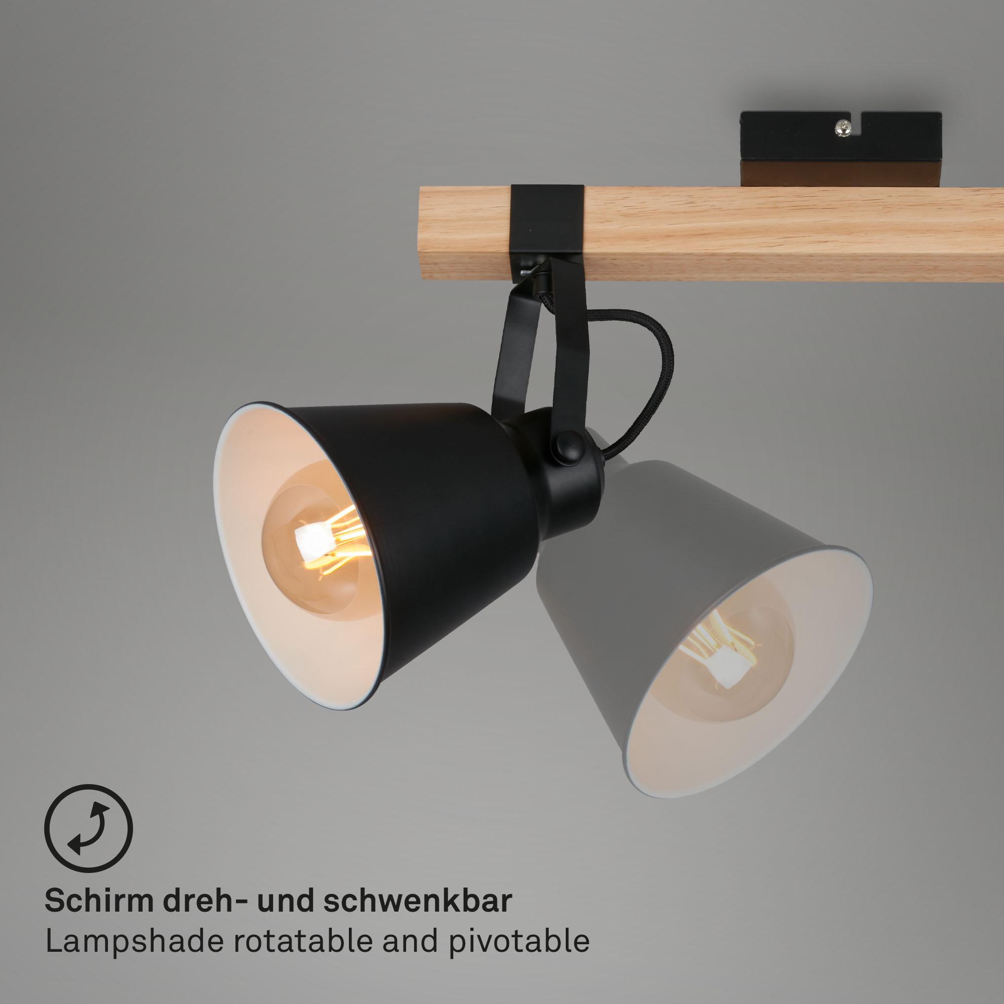 Vintage Spotleuchte 3-flammig Metall-Holz schwarz dreh- und schwenkbar