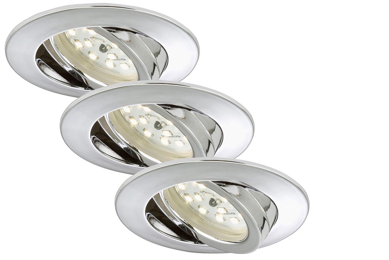 3er Set LED Einbauleuchte, Ø 8,2 cm, 5 W, Chrom