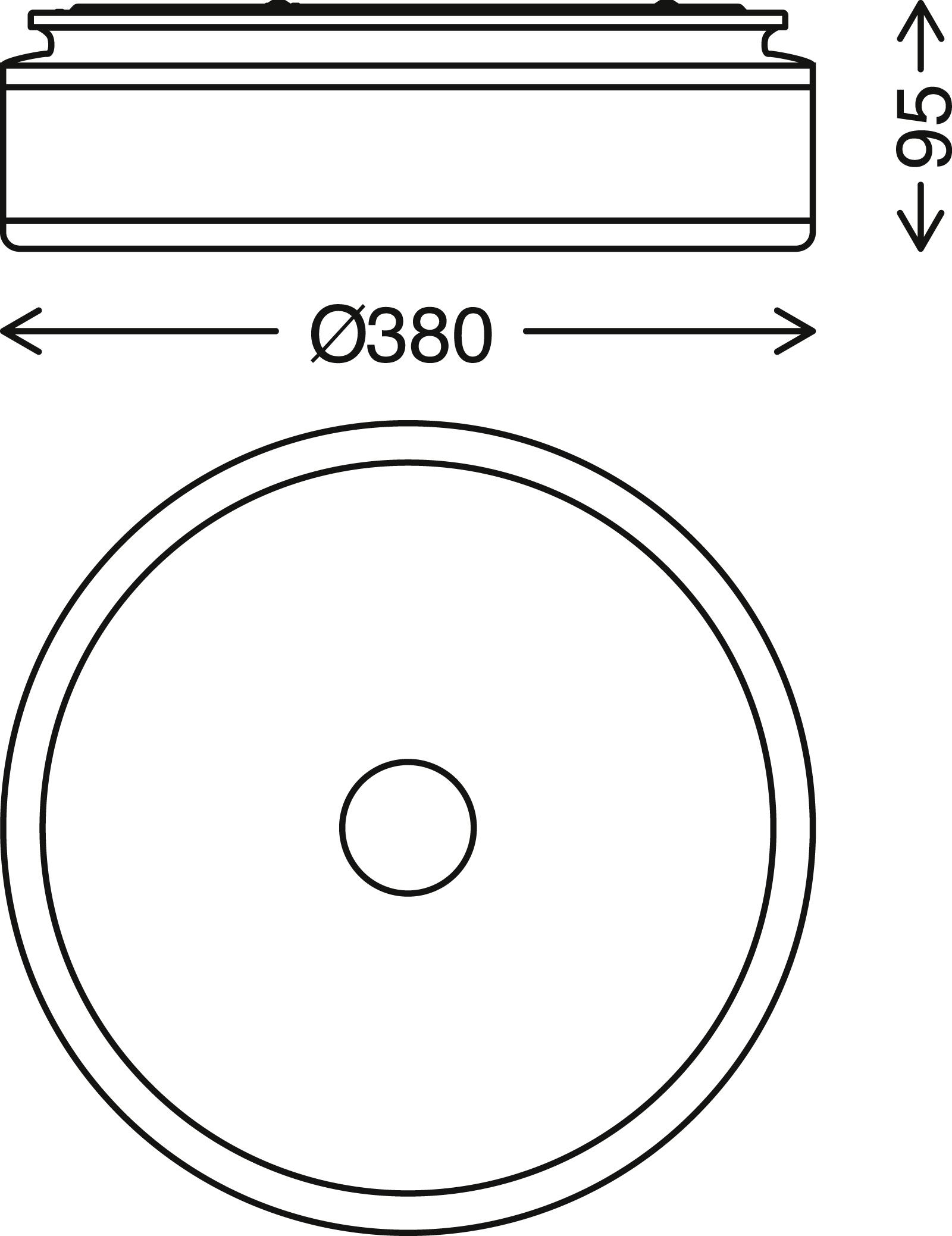 LED Deckenleuchte, Ø 38 cm, 18 W, Schwarz