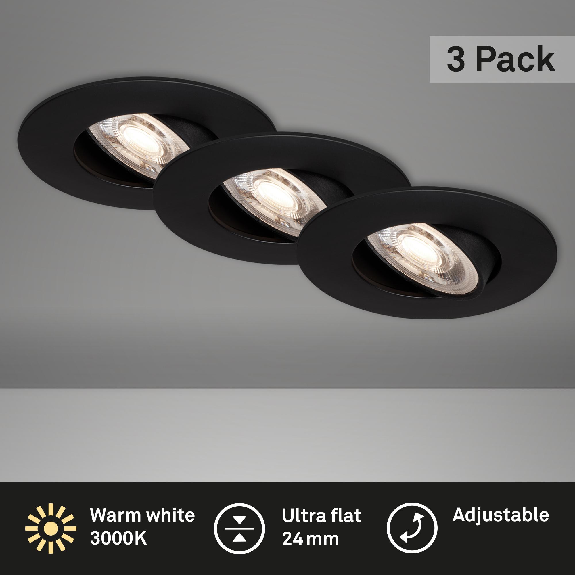 3er Set Ultraflache LED Einbauleuchte Schwarz