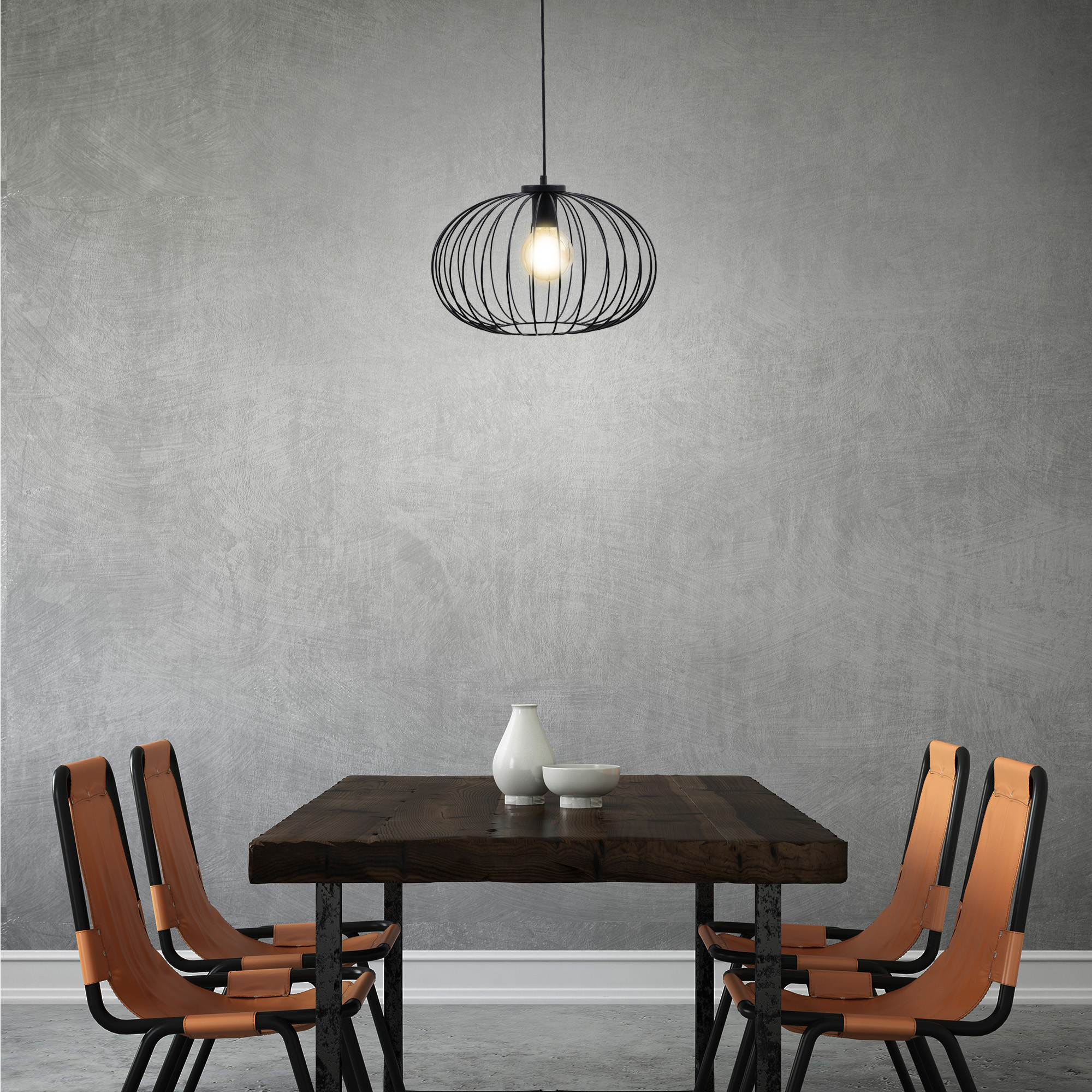 LED Pendelleuchte, 120 cm, max. 60 W, Schwarz
