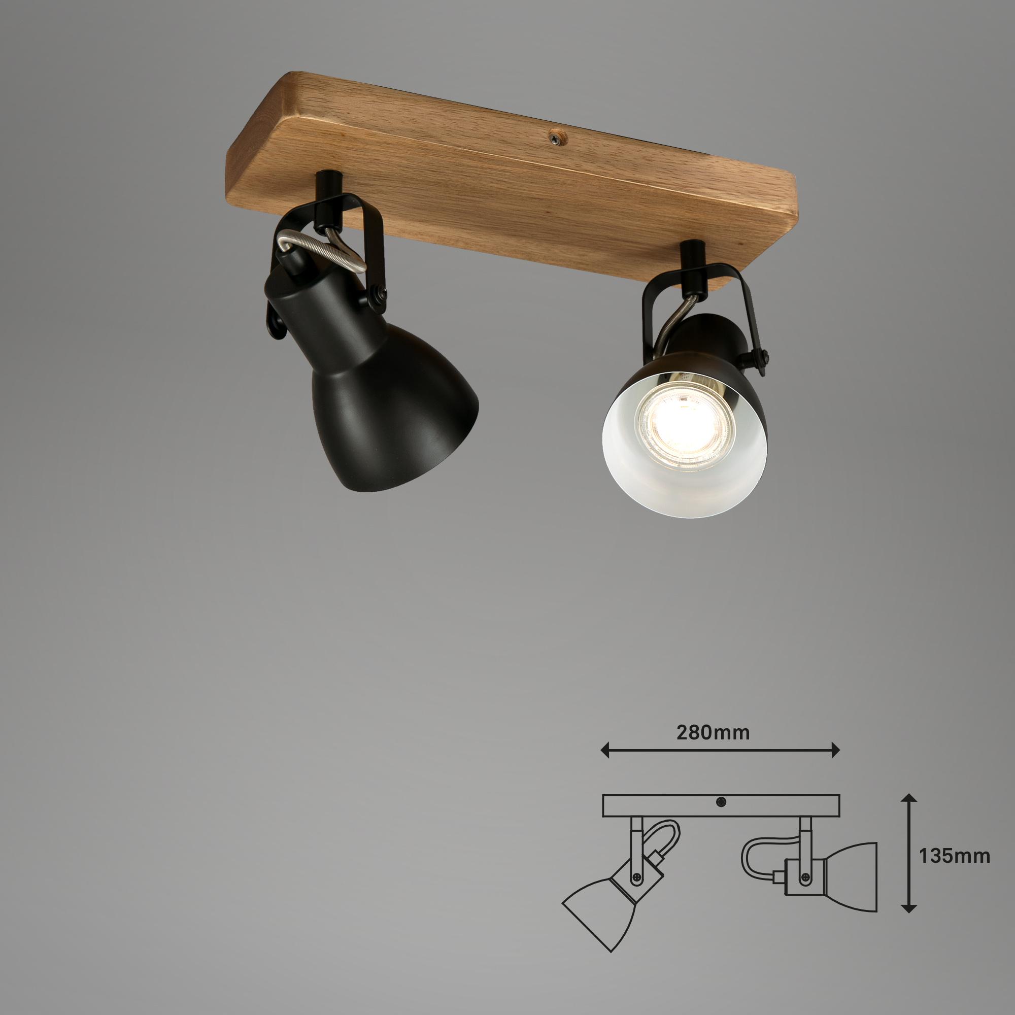 Spot Deckenleuchte Schwarz-Holz