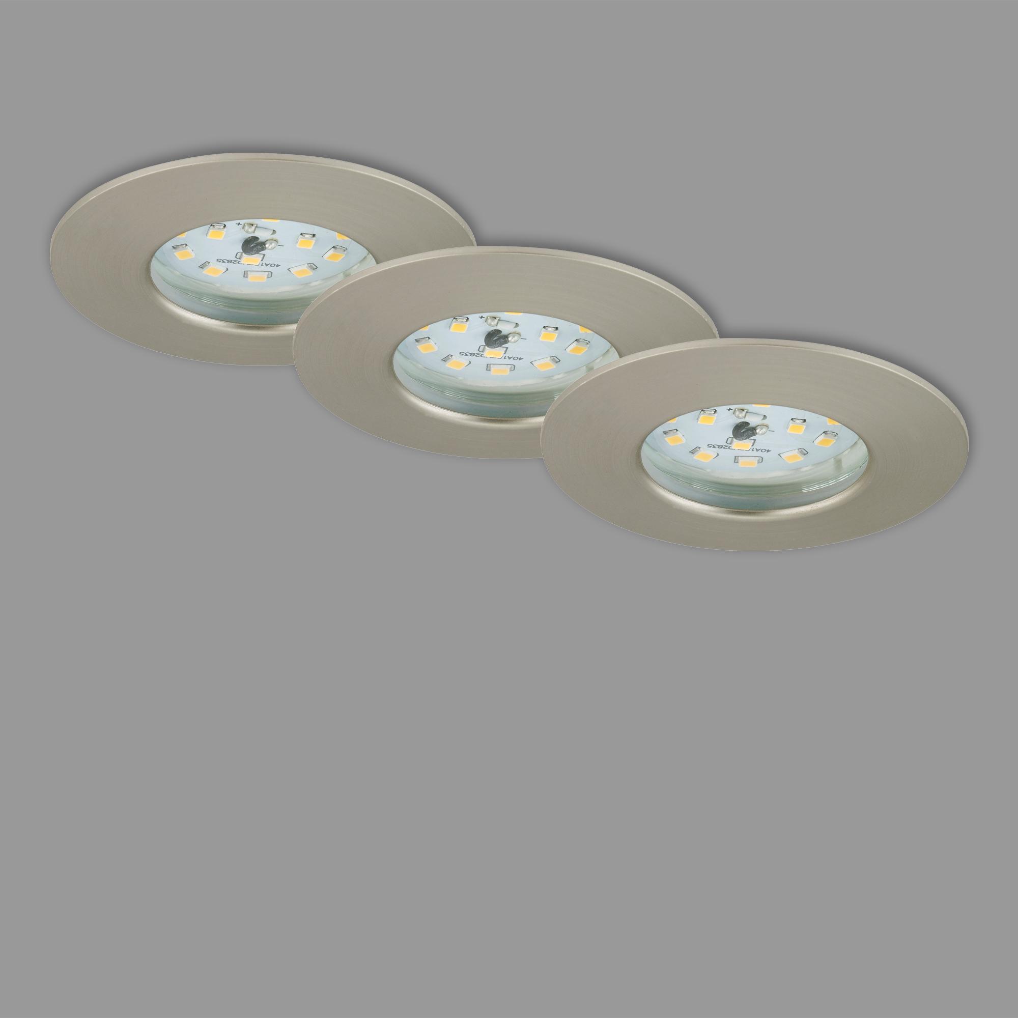 3er Set LED Einbauleuchte, Ø 7,5 cm, 5,5 W, Matt-Nickel
