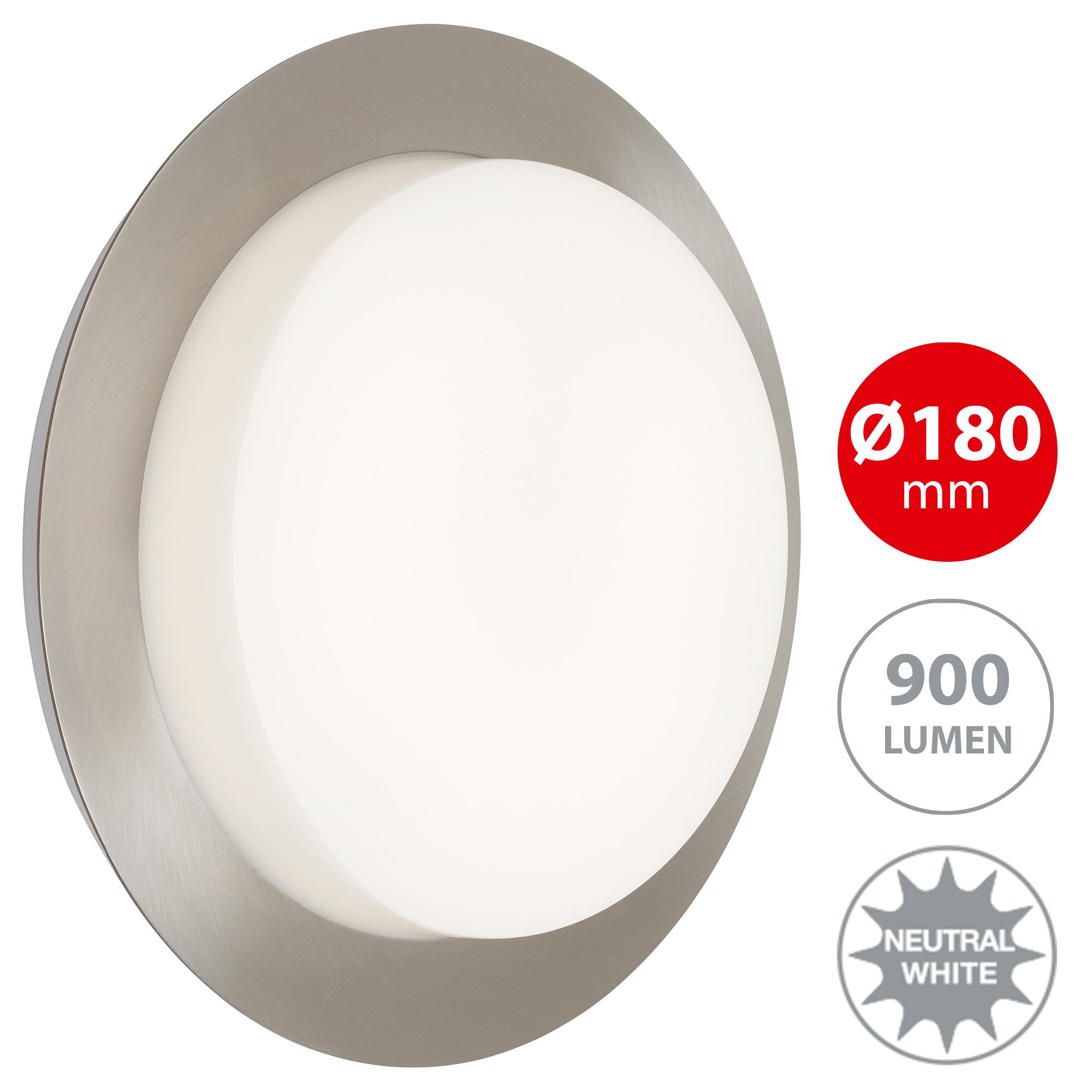 LED Außenleuchte, Ø 18 cm, 9 W, Edelstahl