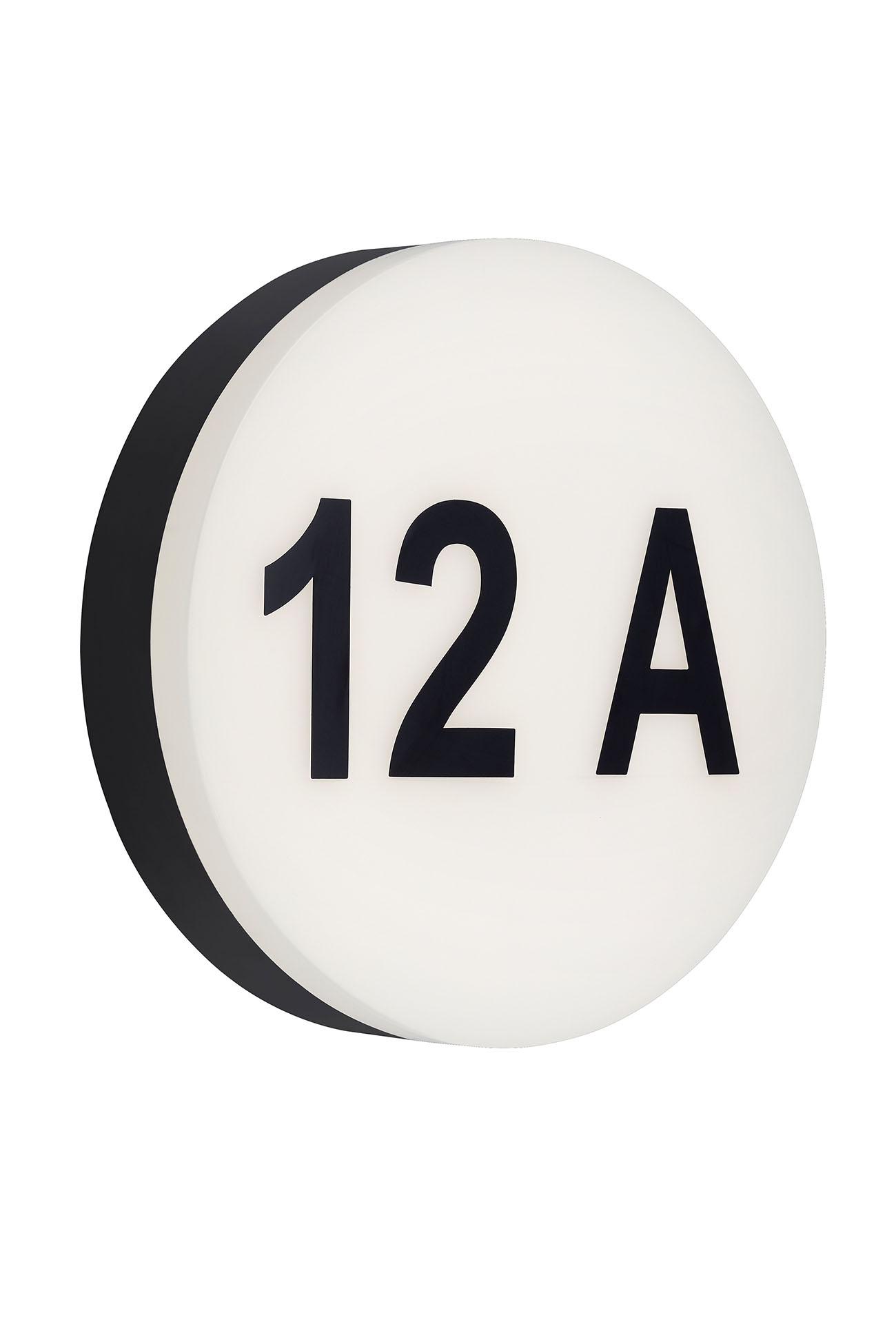 Hausnummern LED Aussenleuchte, Ø 22 cm, 12 W, Schwarz-Weiss