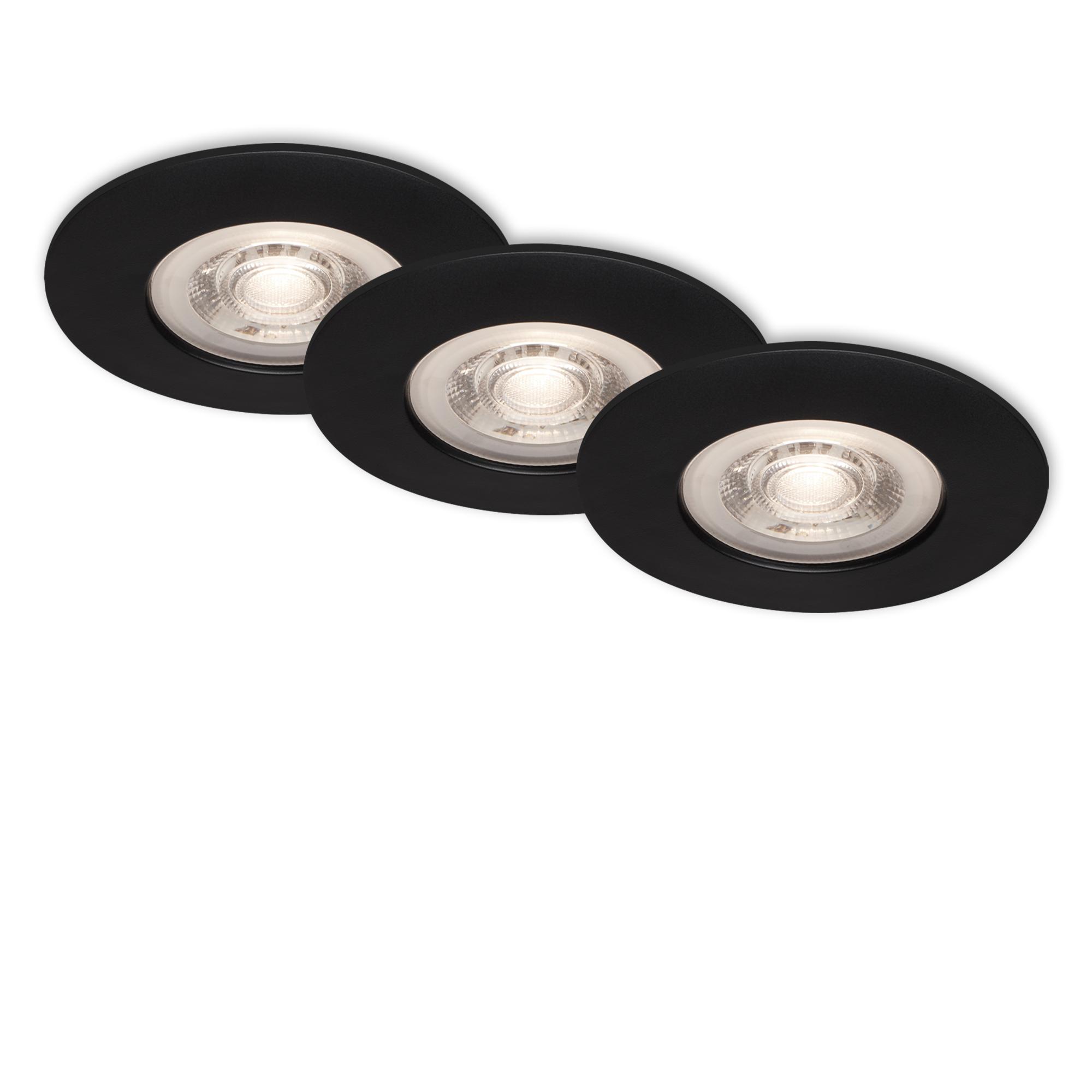 3er Set LED Einbauleuchte, Ø 9 cm, 5 W, Schwarz