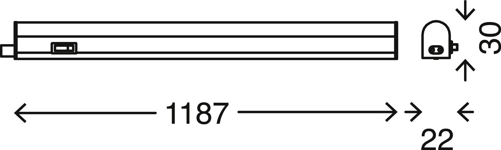 LED Unterbauleuchte, 117,3 cm, 14 W, Weiss