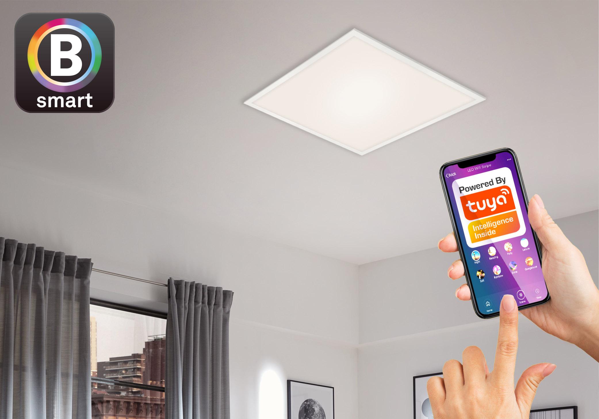 Wohnzimmer mit LED Panel und Smart Steuerung mit der Tuya App