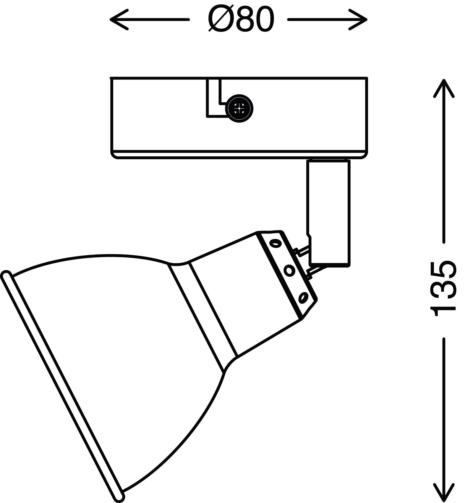 Spot Wand- und Deckenleuchte, Ø 8 cm, 3 W, Kupfer