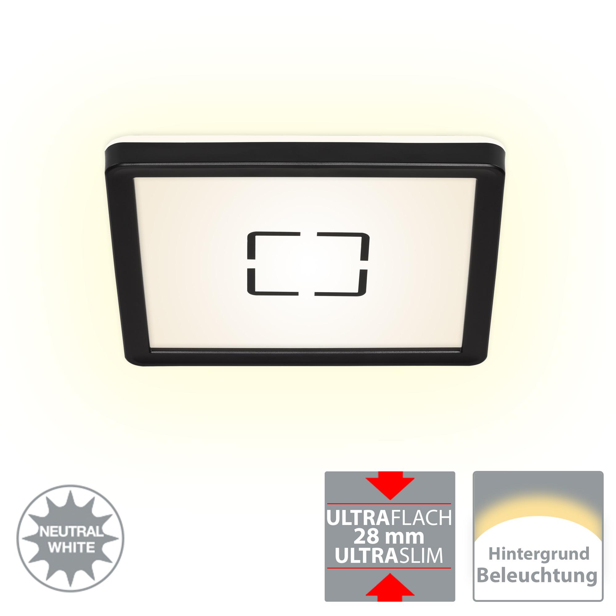 Slim LED Panel, 19 cm, 1400 LUMEN, 12 WATT, Schwarz