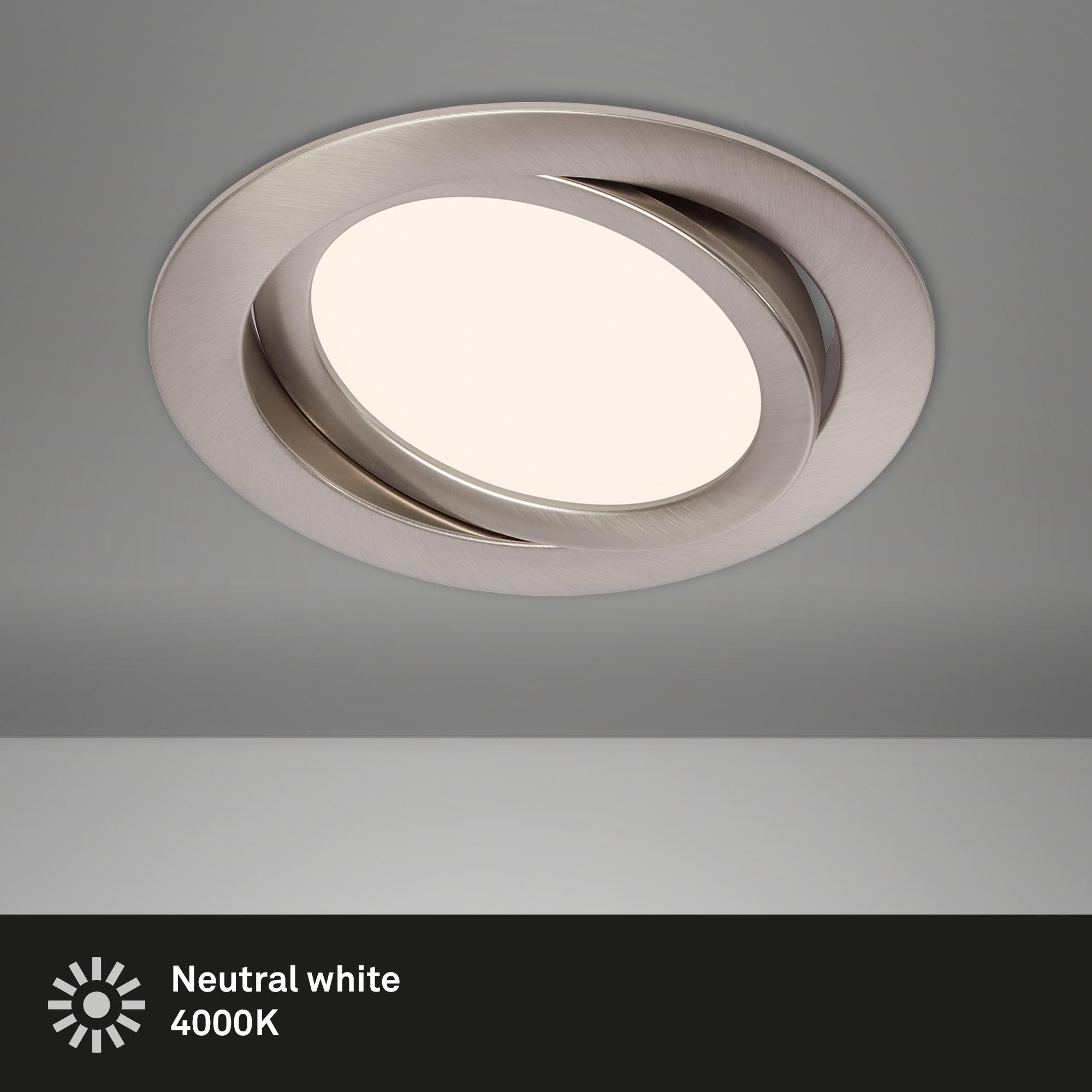 LED Einbauleuchte, Ø 14 cm, 9 W, Matt-Nickel