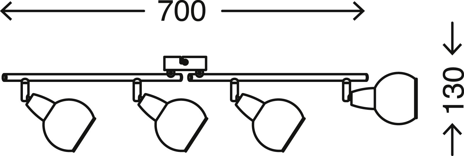 Spot Deckenleuchte, 70 cm, max. 40 W, Matt-Nickel-Weiss