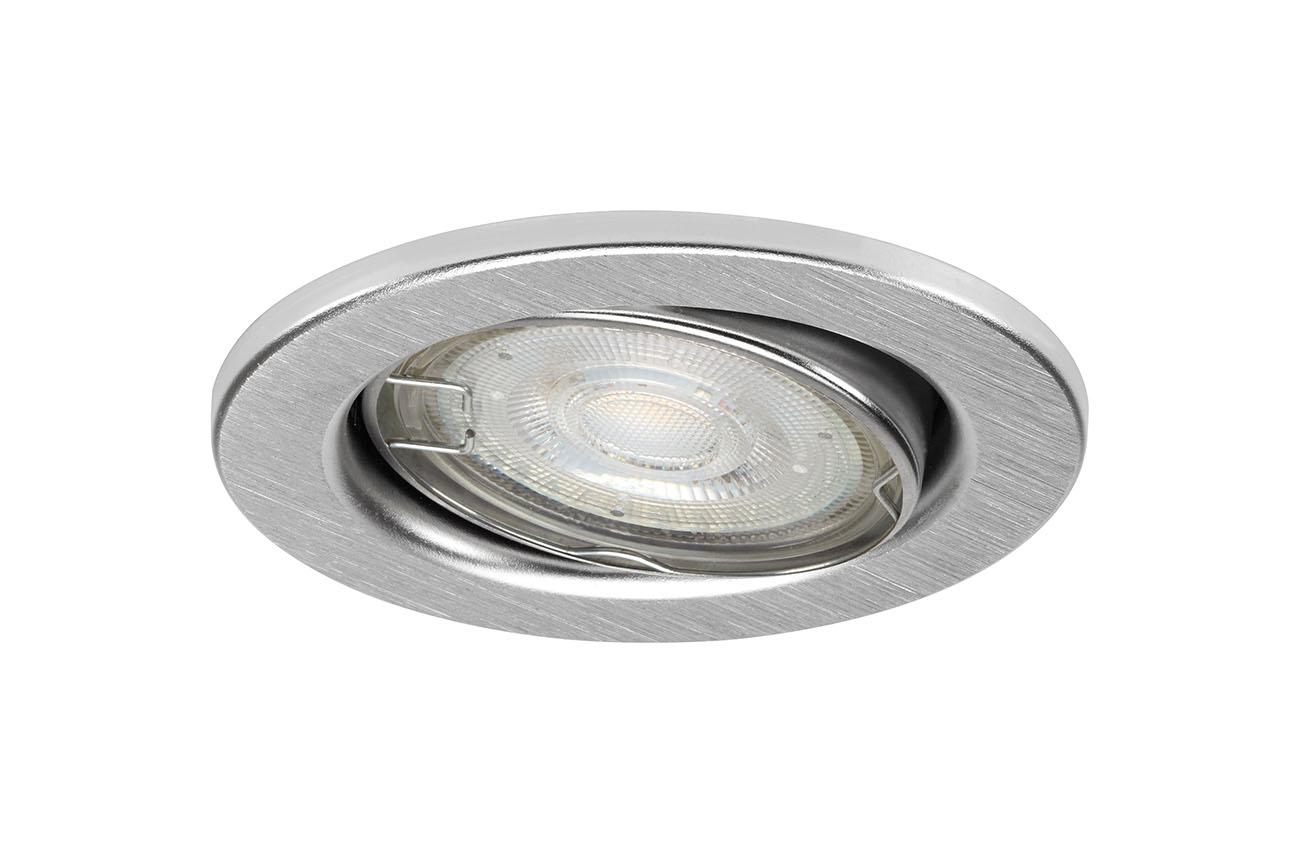 3er Set LED Einbauleuchte, Ø 8,6 cm, 5 W, Alu