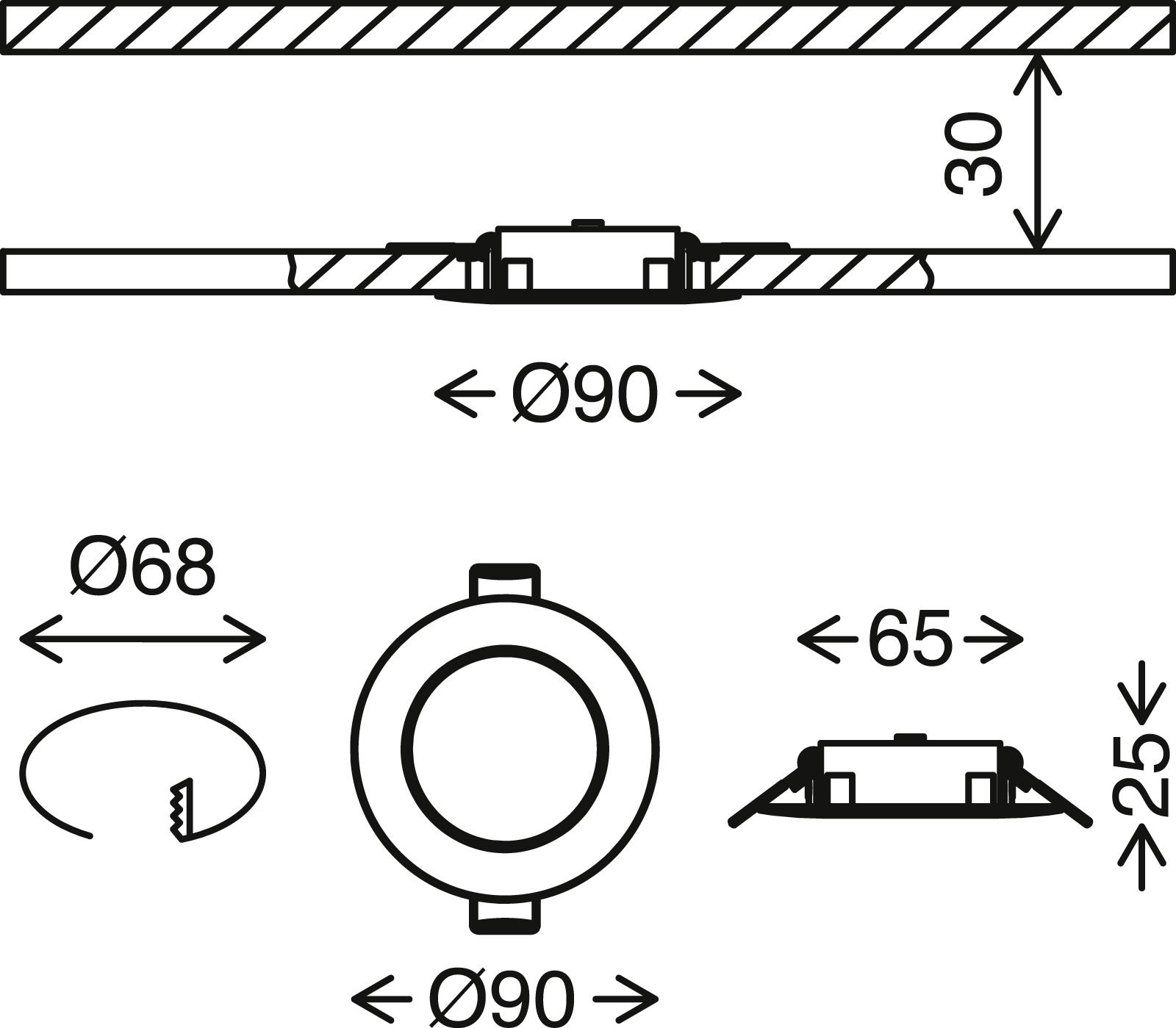 3er Set LED Einbauleuchte, Ø 9 cm, 5 W, Chrom-Matt